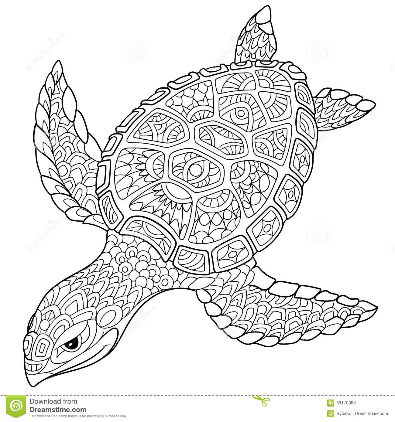 zentangle stylized turtle sketch for tattoo or t shirt stock