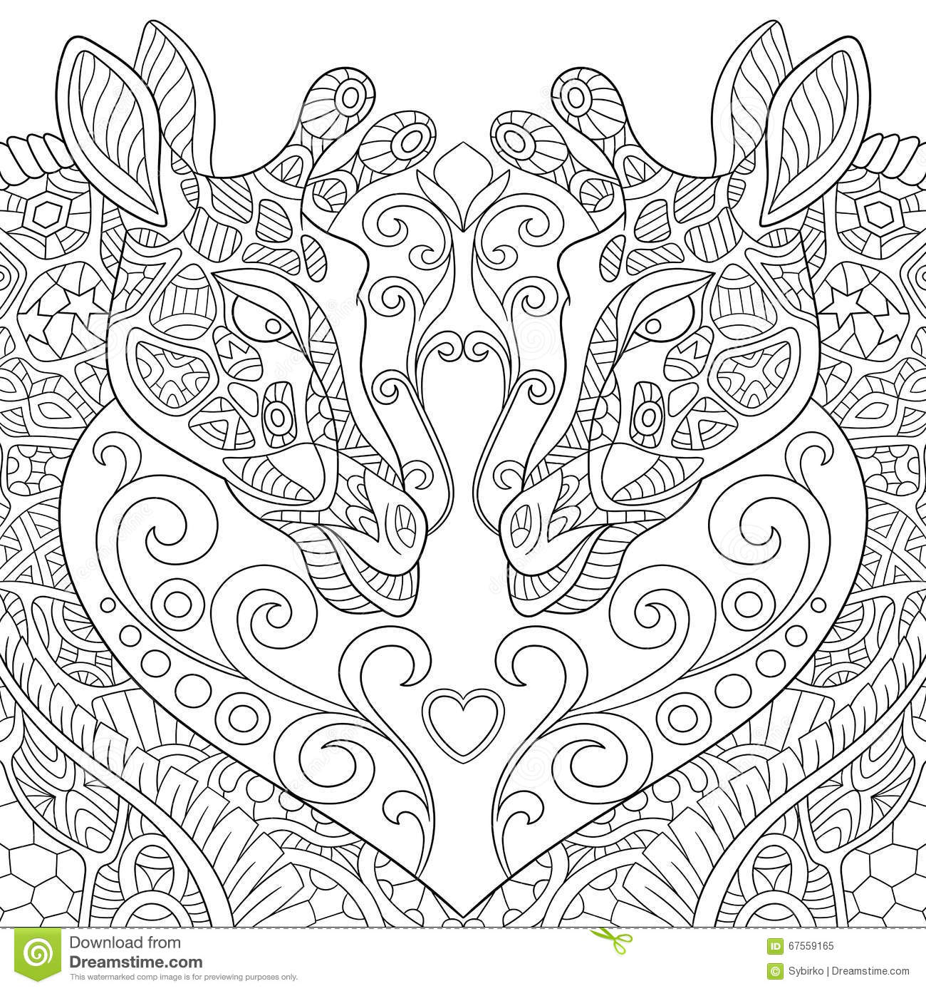 Zentangle Stylized Two Lovely Giraffes With A Heart Stock