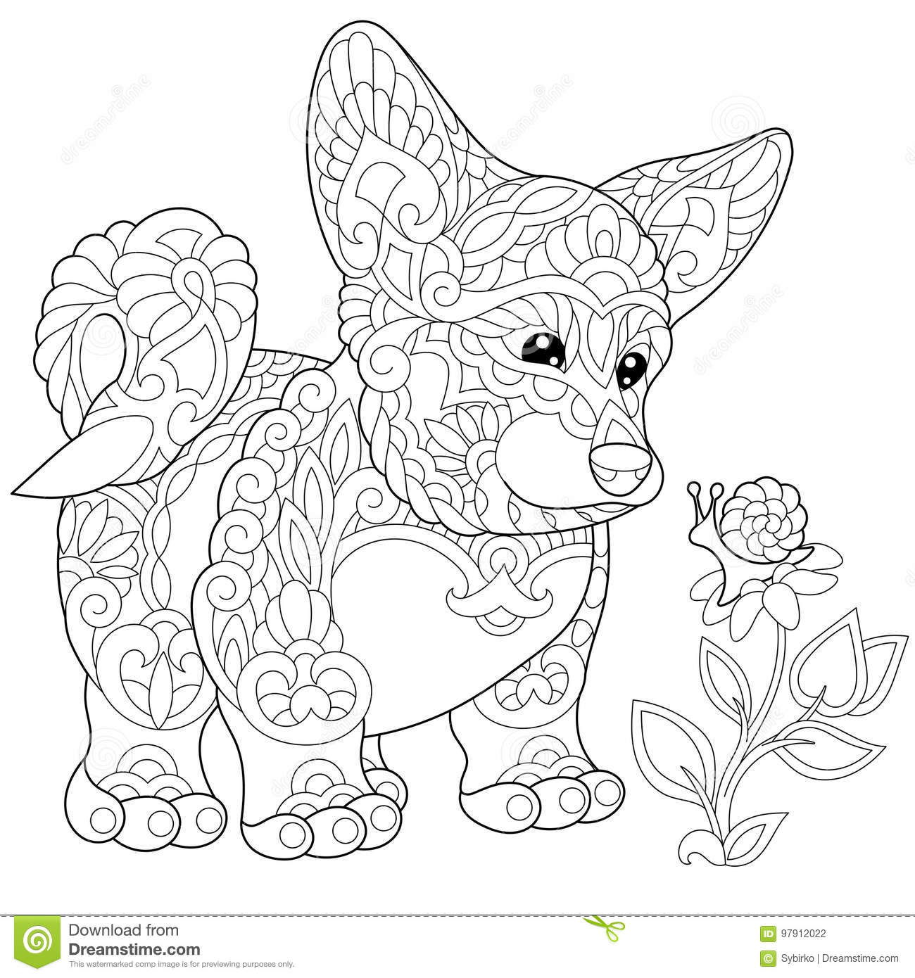 Zentangle Stylized Welsh Corgi Puppy Stock Vector Illustration Of