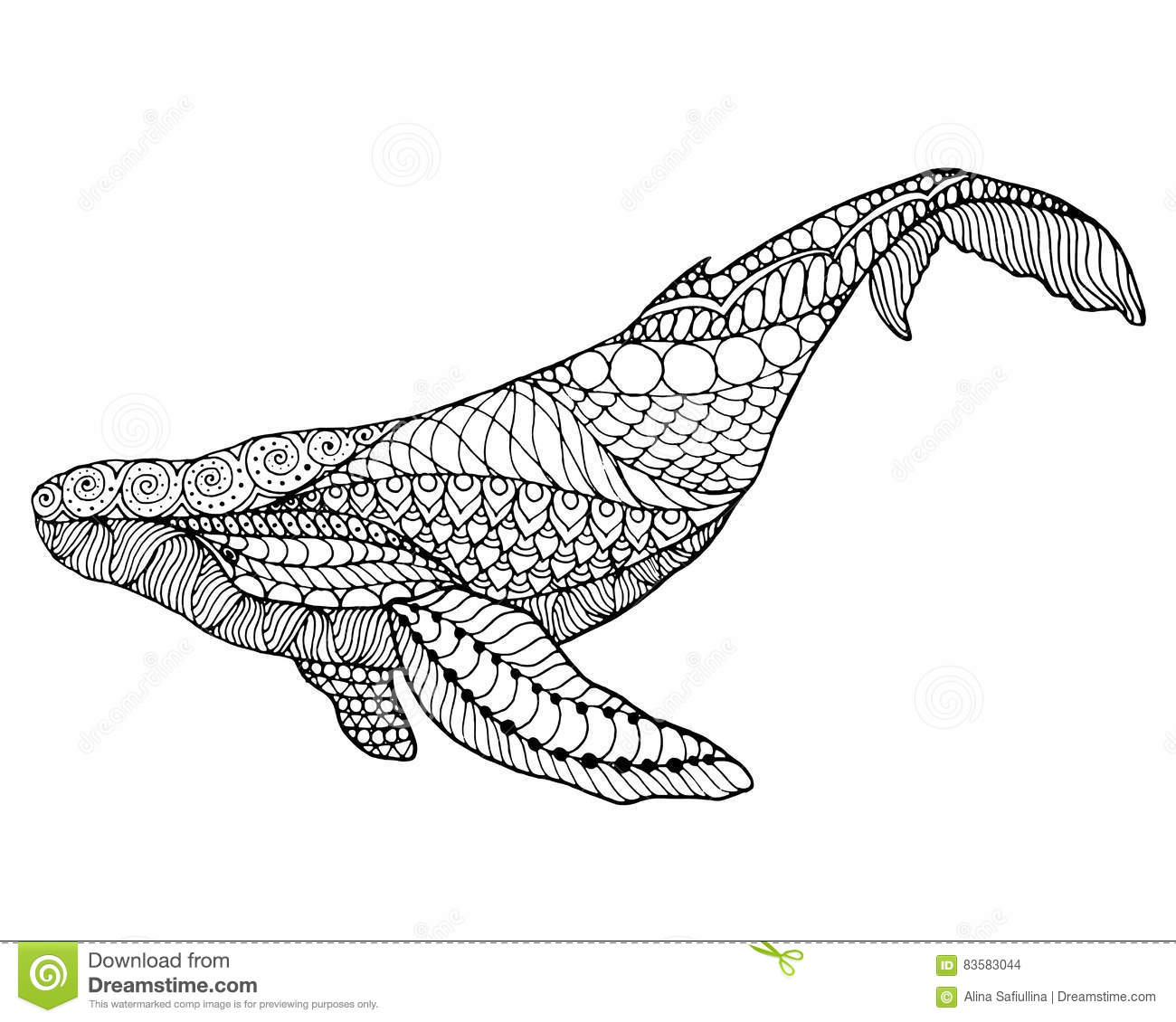 zentangle stylized whale stock vector image 83583044