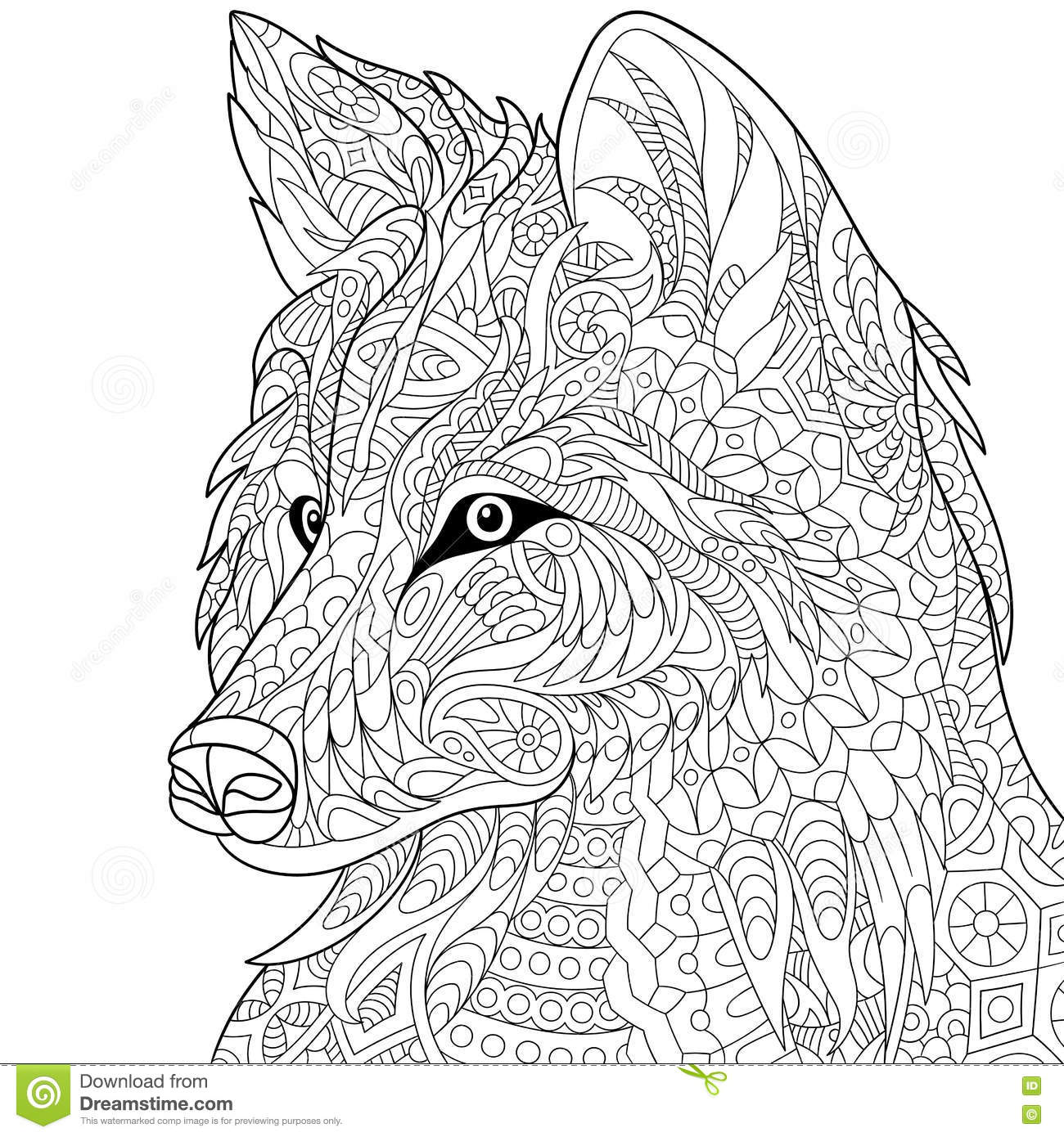 wolf coloring pages for adults - zentangle stylized wolf stock vector illustration of