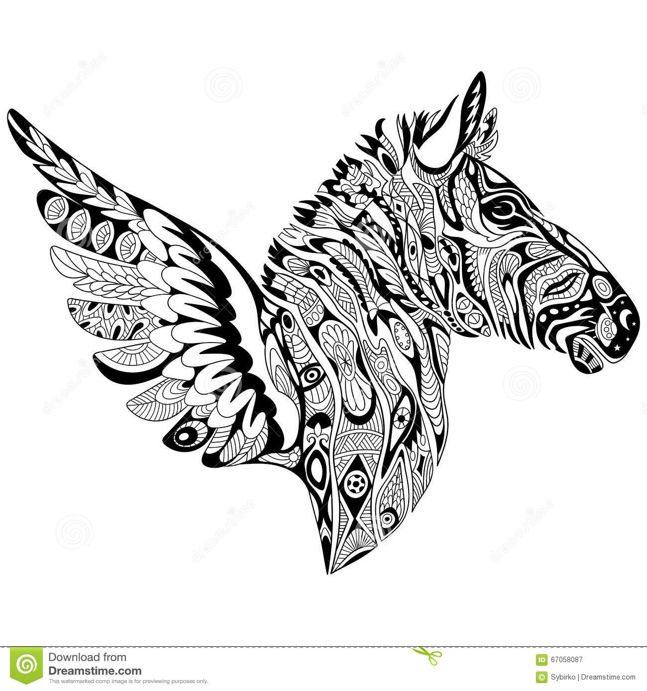 Zentangle Stylized Zebra With Wings Stock Vector