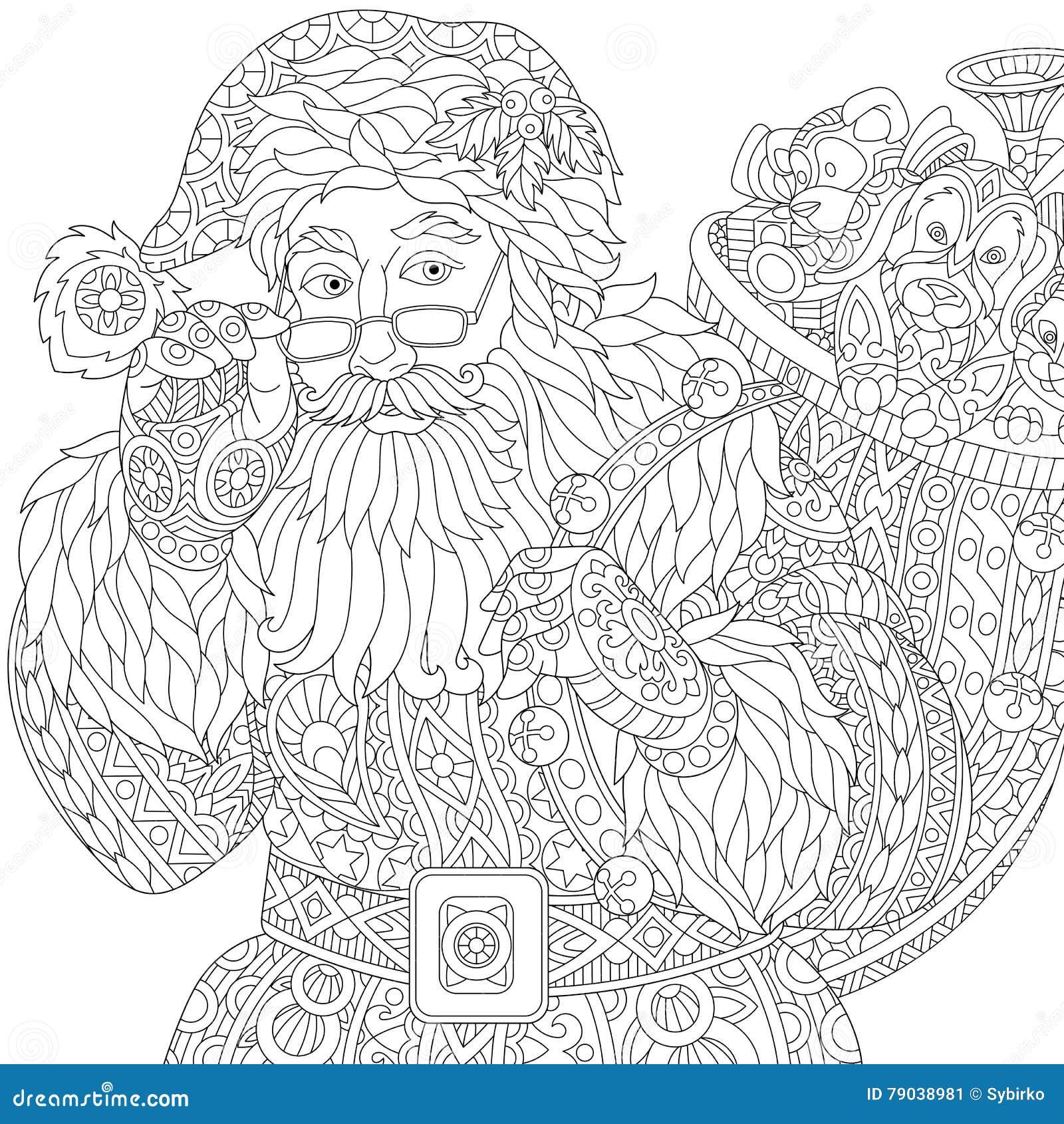 Zentangle stylizował Święty Mikołaj
