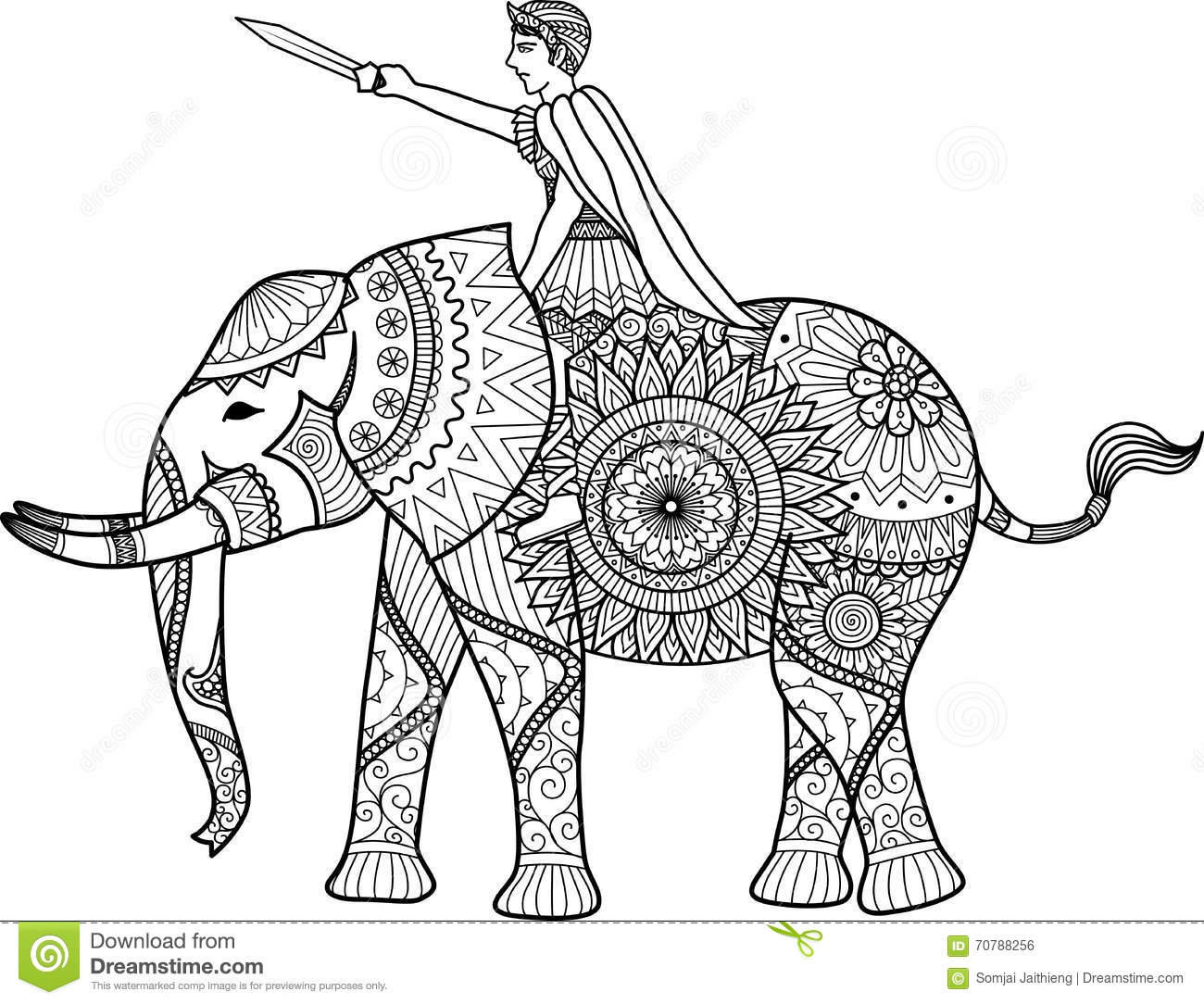 Zentangle Sylized Of Warrior Riding Elephant Coloring Book For Adult