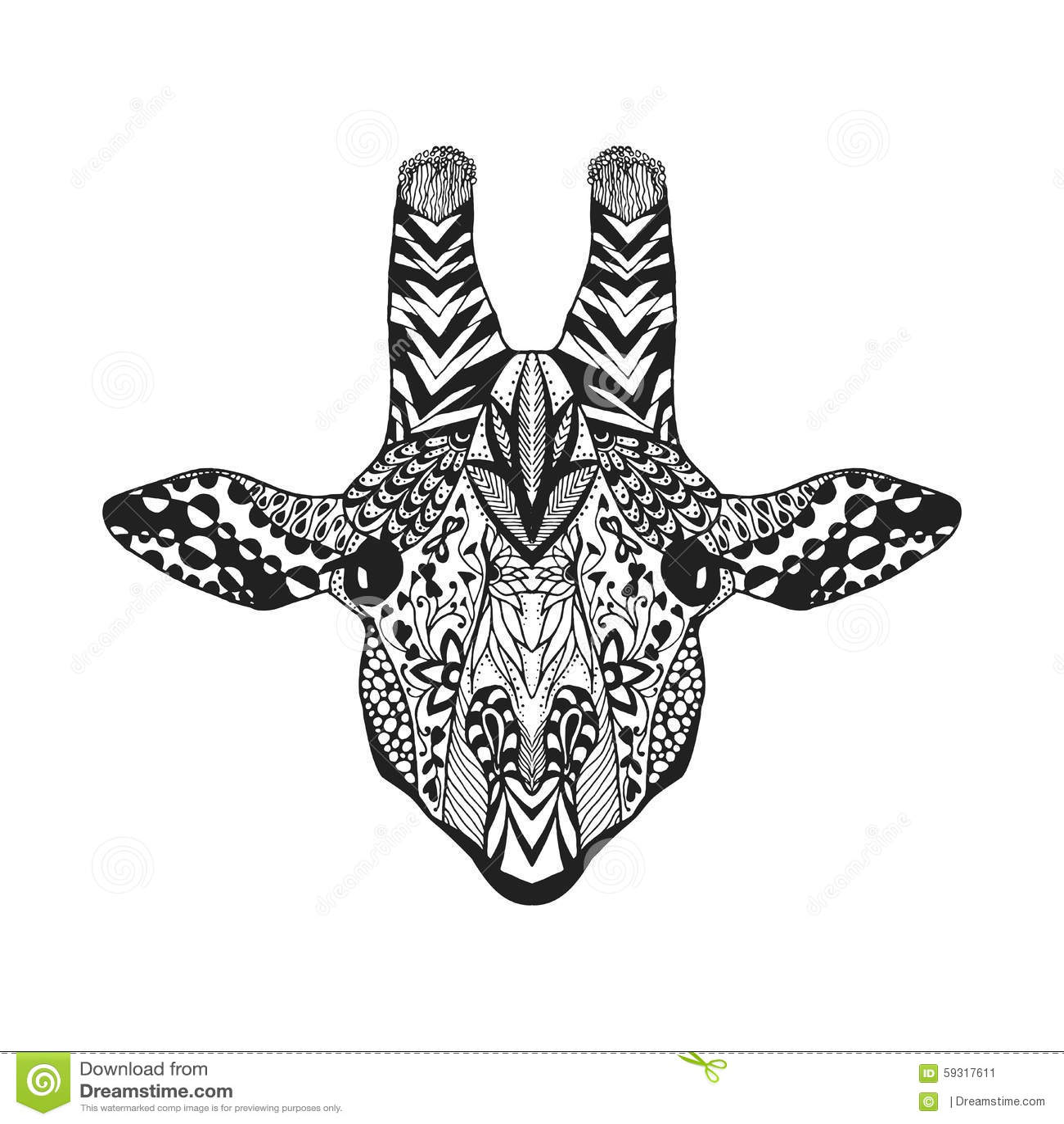zentangle传统化了长颈鹿 纹身花刺或t恤杉的剪影
