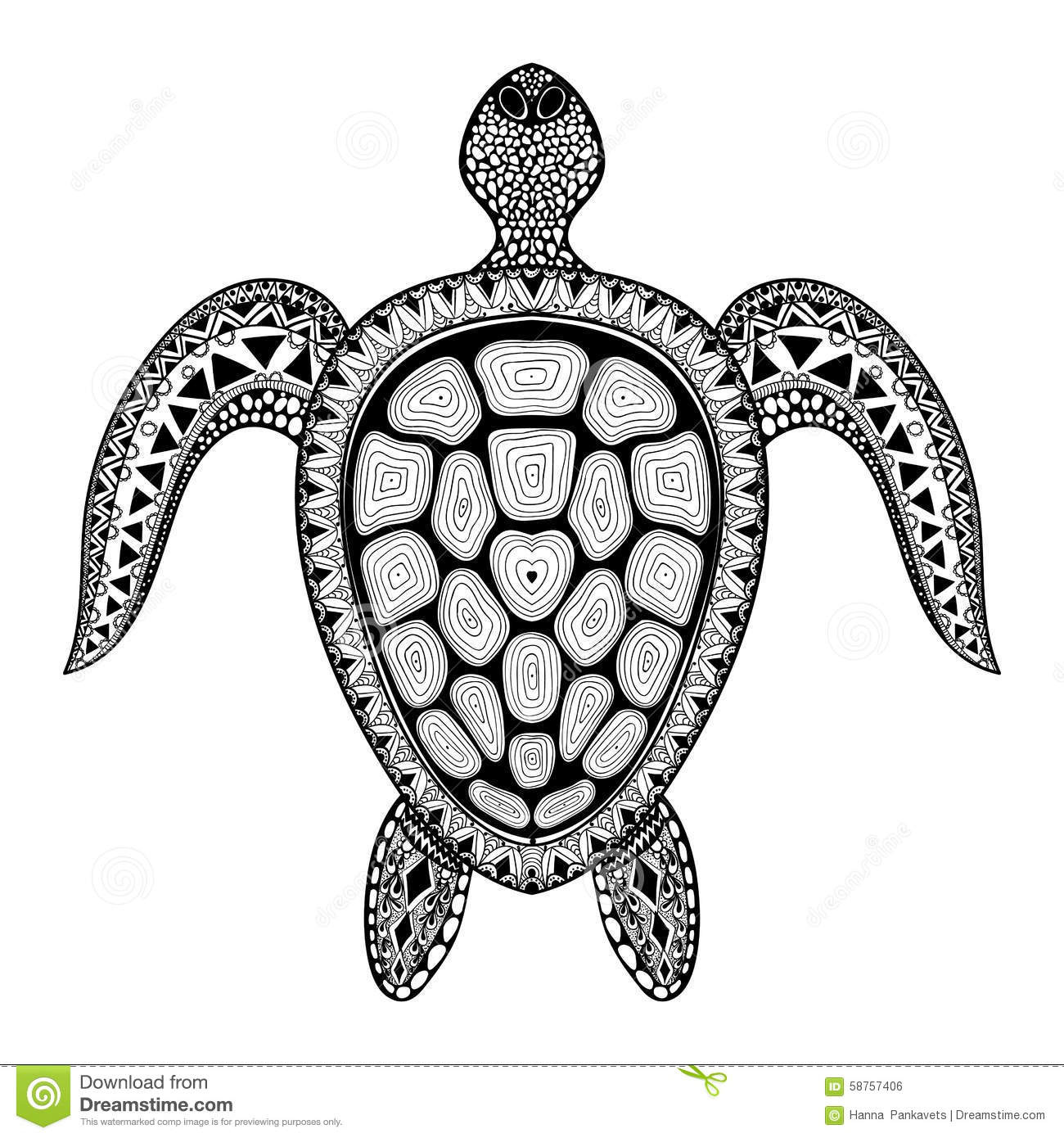 Zentangle Tribal Stylized Turtle Hand Drawn Aquatic