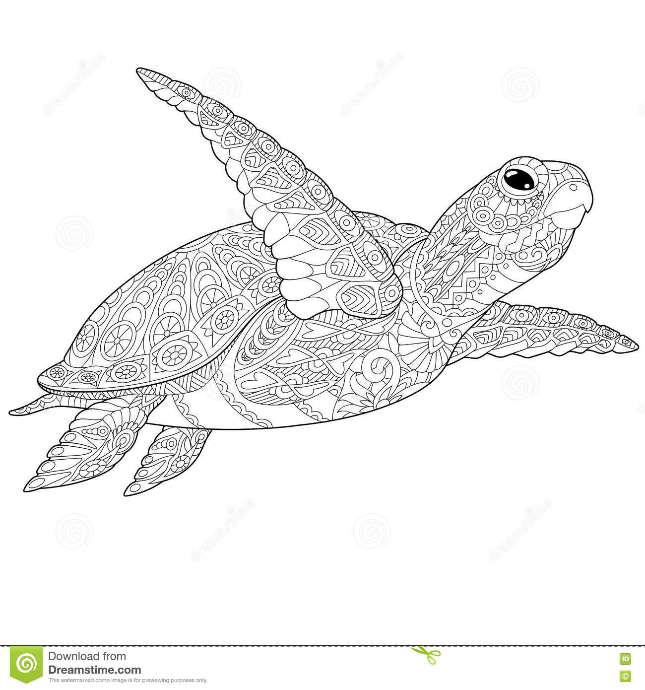 Stylized Underwater Turtle Tortoise Freehand Sketch For Adult Anti Stress Coloring Book Page With Doodle And Zentangle Elements