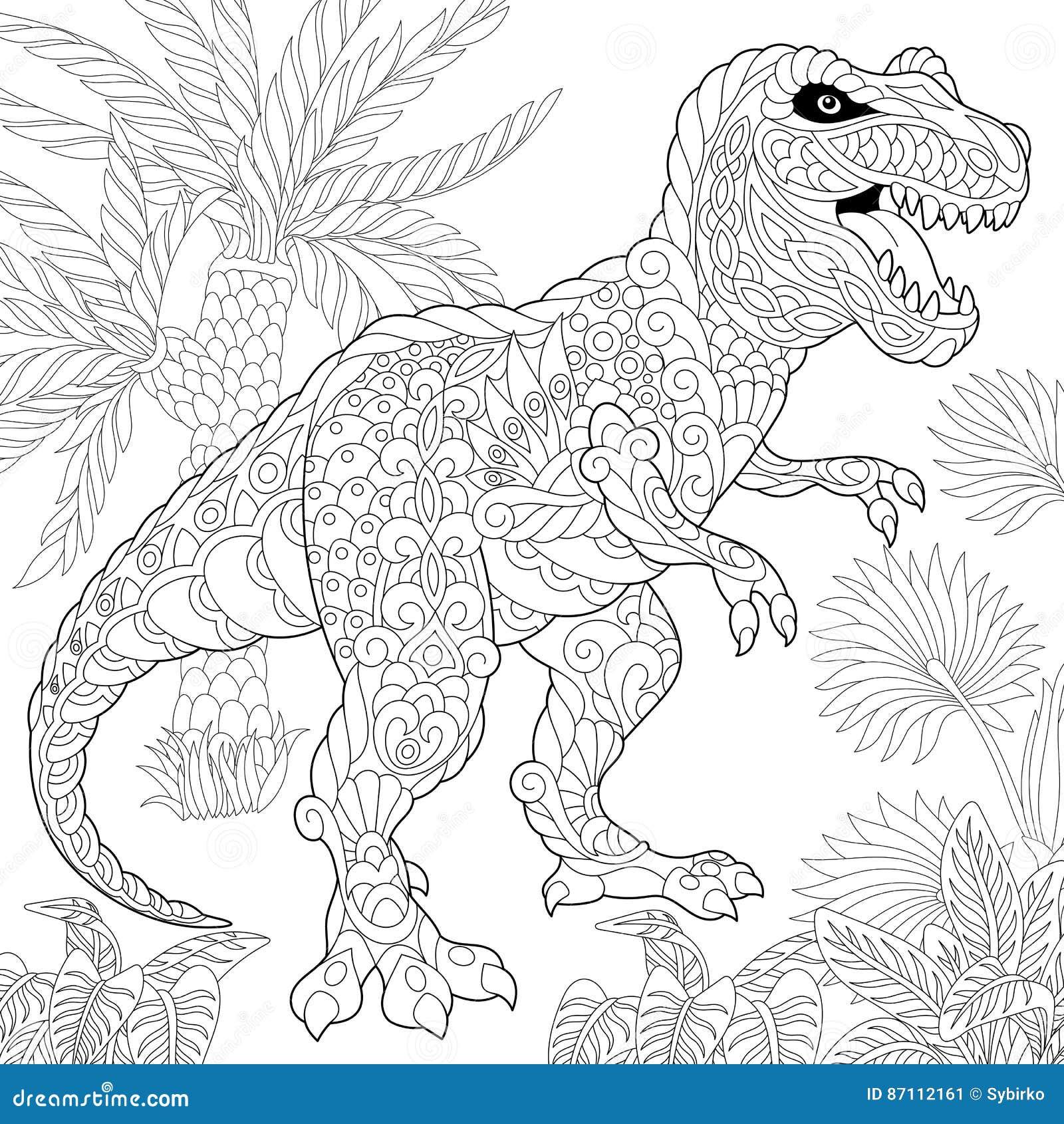 Zentangle Tyrannosaurus Dinosaur Stock Vector ...