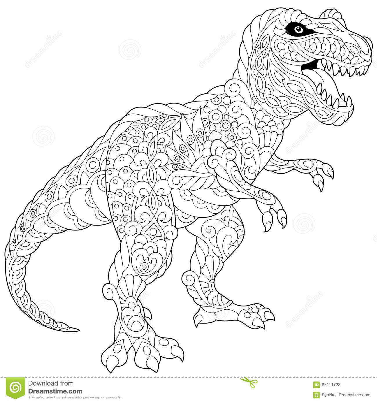 Tyrannosaurus Coloring Book For Adults Vector Cartoon