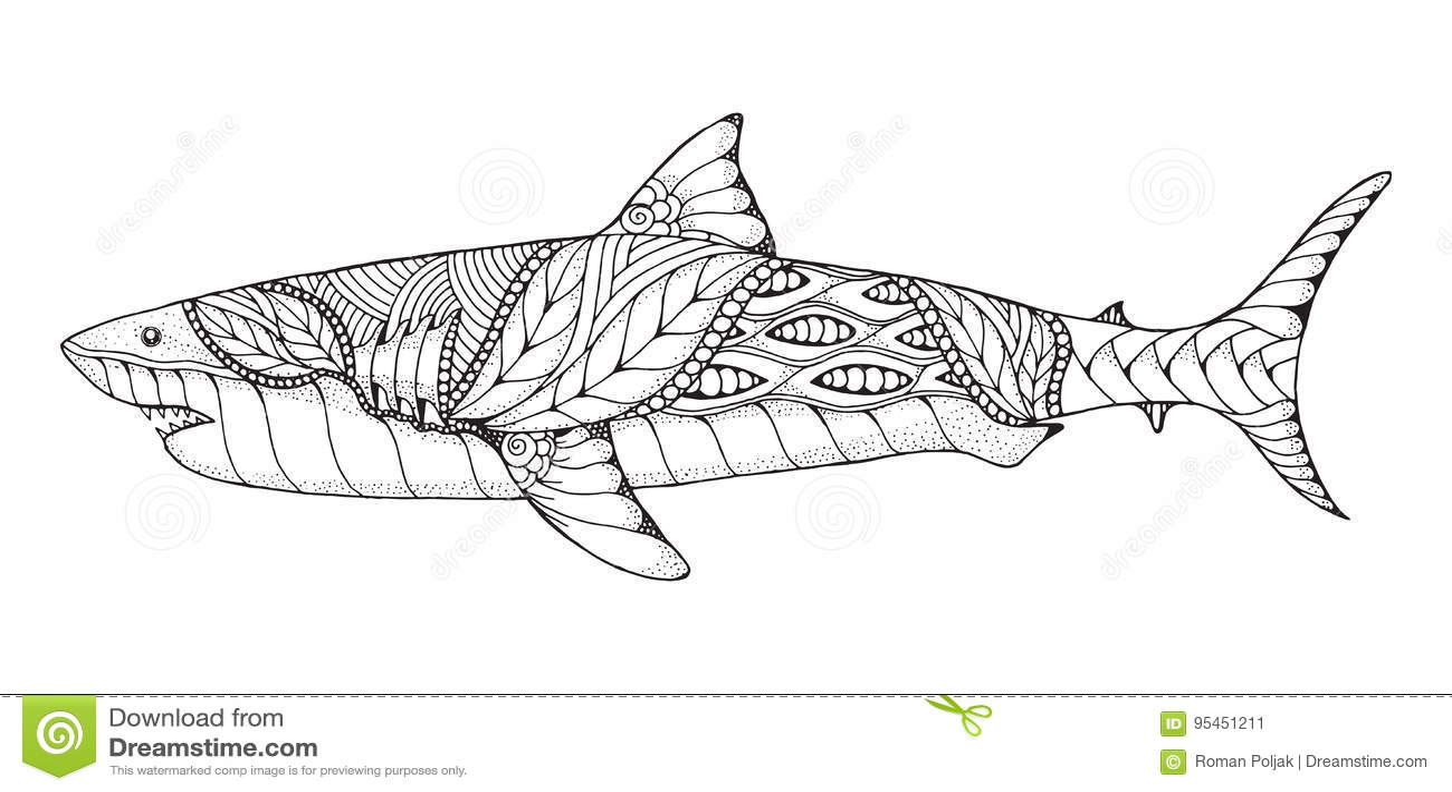 Zentangle Und Punktierter Stilisierter Weißer Hai Vektor, Illus ...