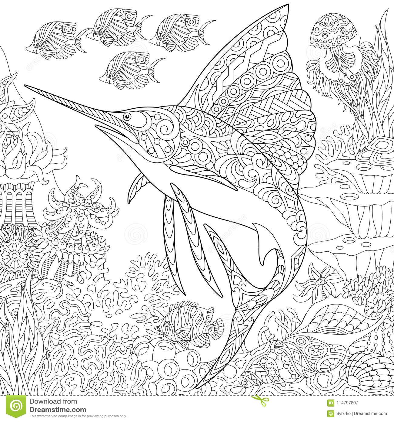 Zentangle Underwater Background Stock Vector Illustration Of Drawn