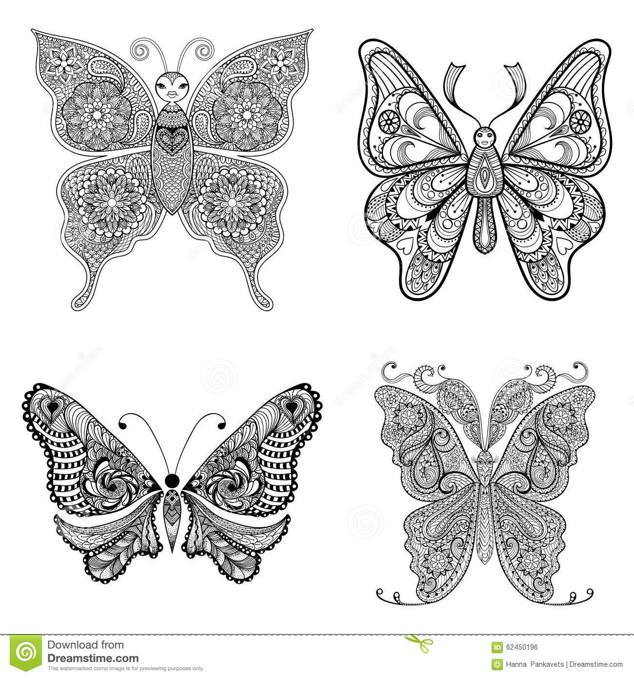 Coloring pages for adults butterflies - Zentangle Vector Black Butterflies Set For Adult Anti Stress Co New Coloring Page