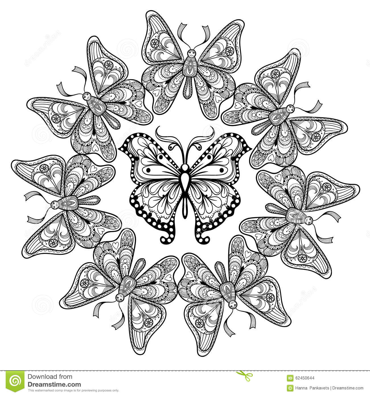Zentangle vector circle of flying butterflies stock vector for Coloring pages of butterflies for adults