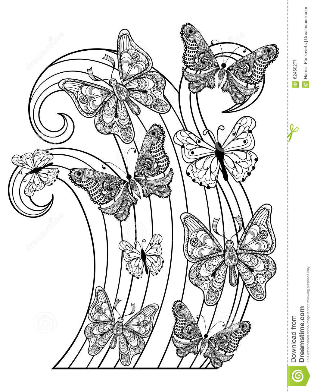 Zentangle vector flying Butterflies for adult anti stress coloring ...