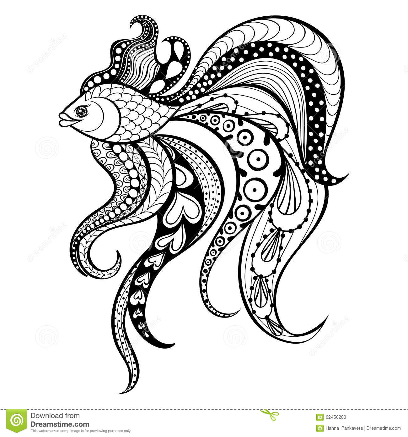 zentangle vector gold fish for tattoo in boho hipster style or
