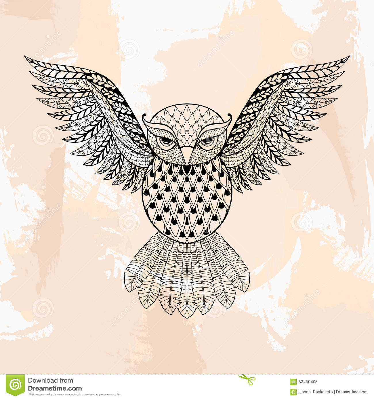 Zentangle Vector Owl Tattoo In Hipster Style Ornamental