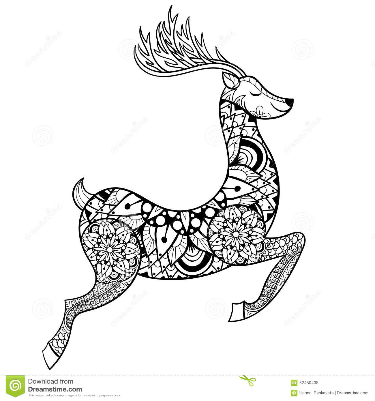 Free coloring page deer - Royalty Free Vector