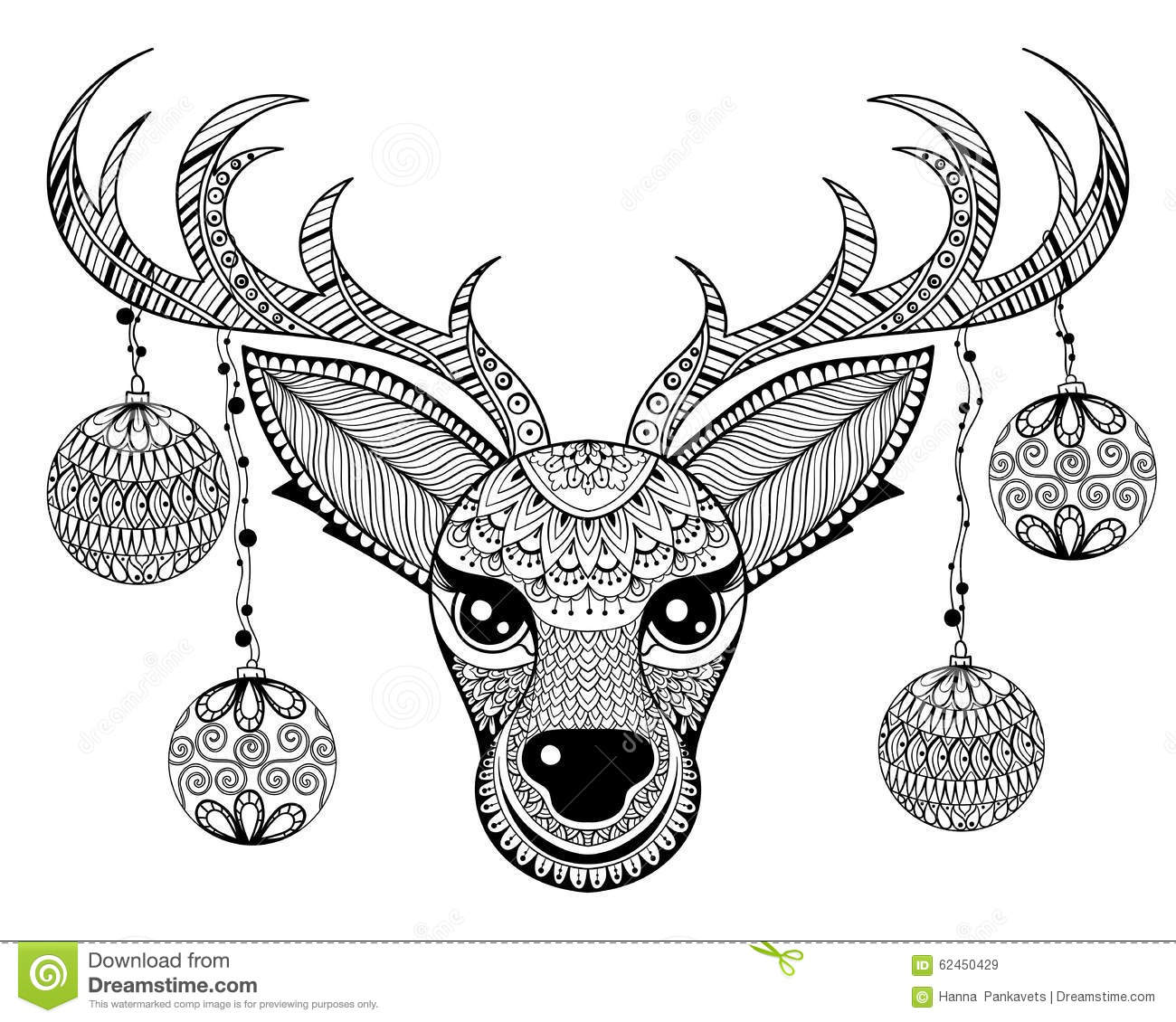 Zentangle Vector Reindeer Face With Chriatmas Decoration