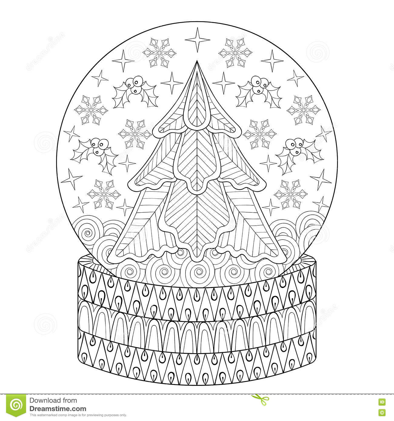Winter Snow Globe Coloring Page coloring page & book for kids. | 1390x1300