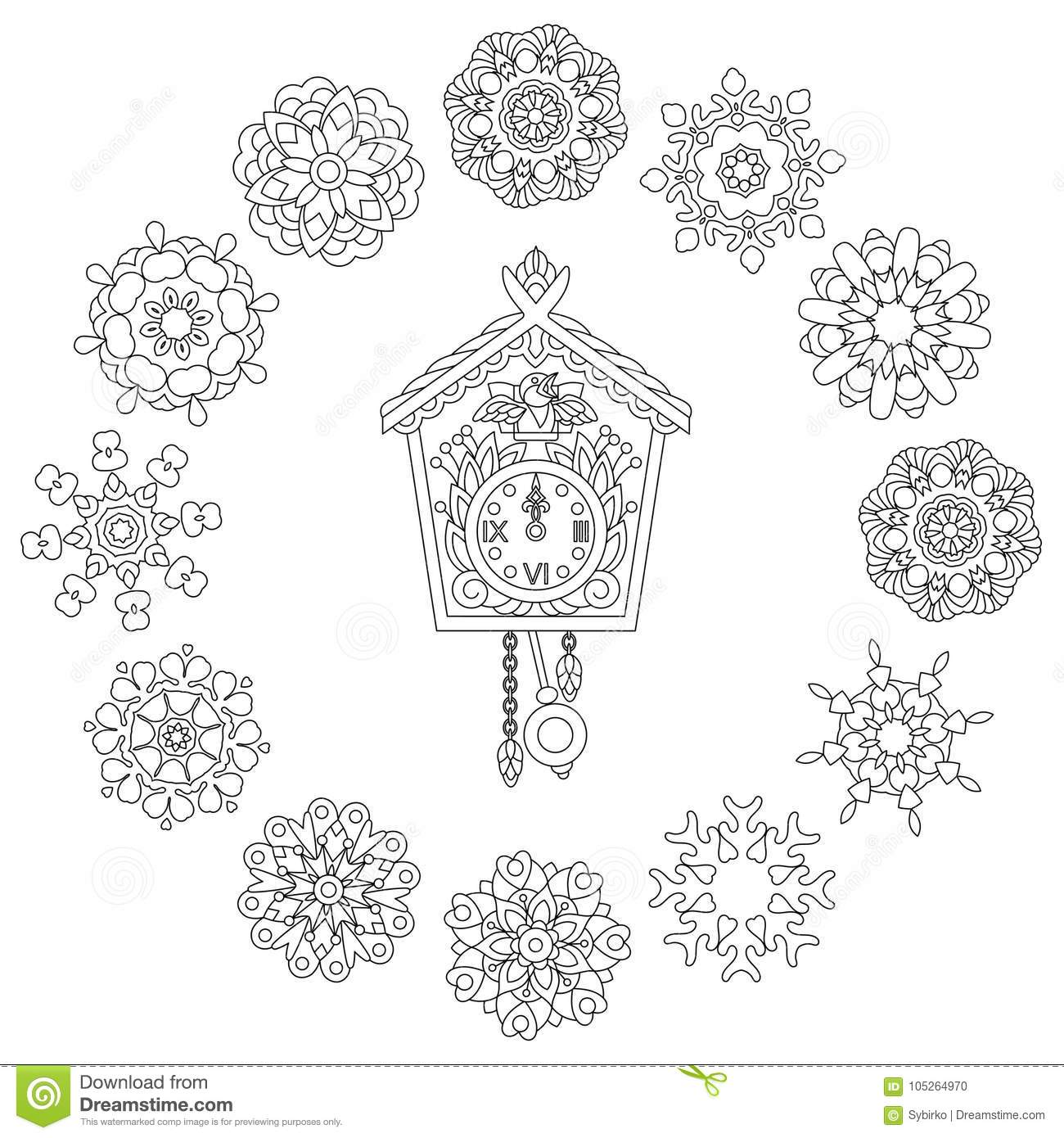 Zentangle Wall Clock And Christmas Snowflakes Stock Vector ...