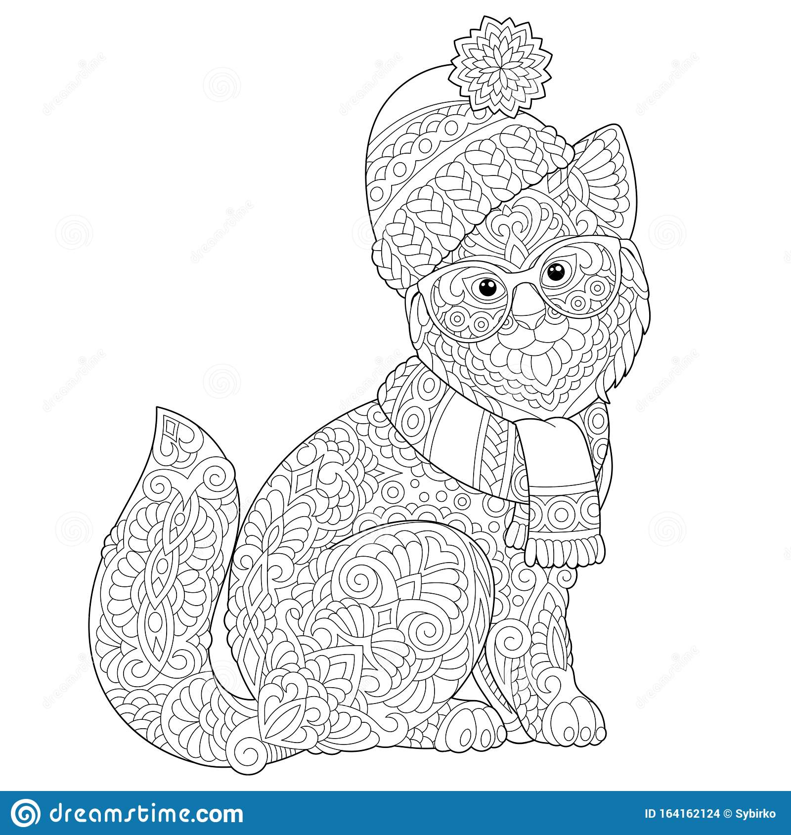 Zentangle Winter Cat Coloring Page Stock Vector Illustration Of Decorative Classic 164162124