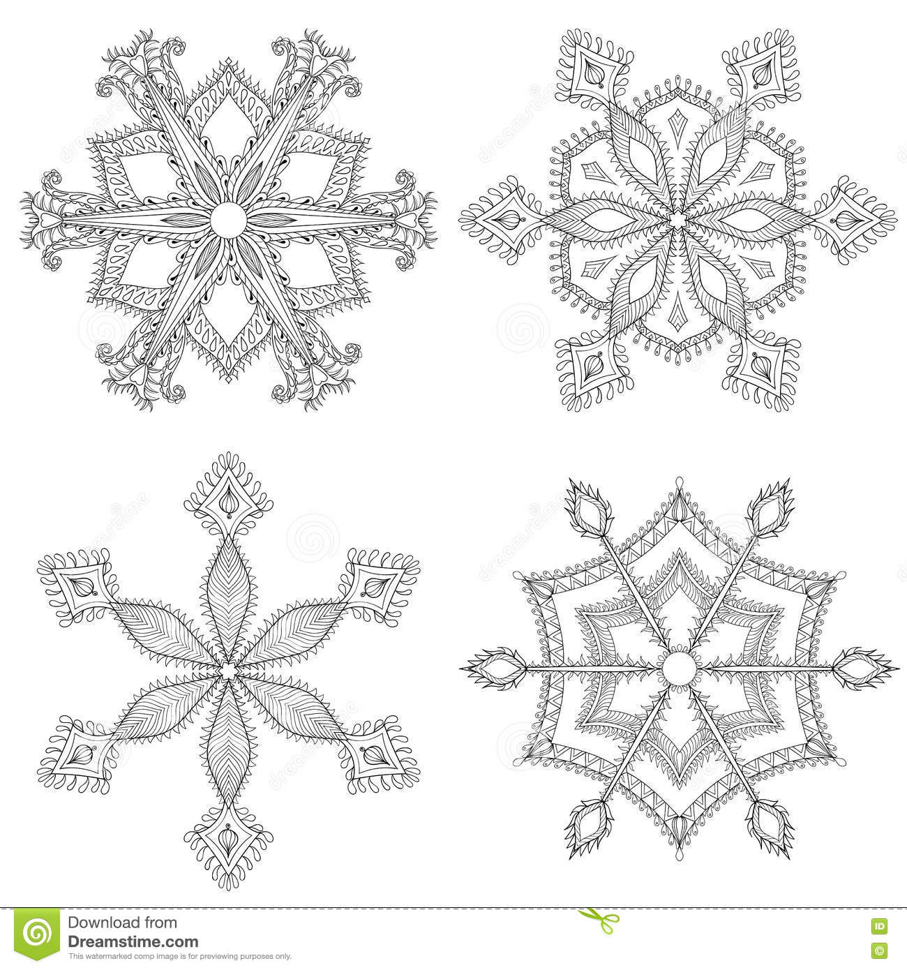 zentangle winter snowflakes set for christmas new year freehan
