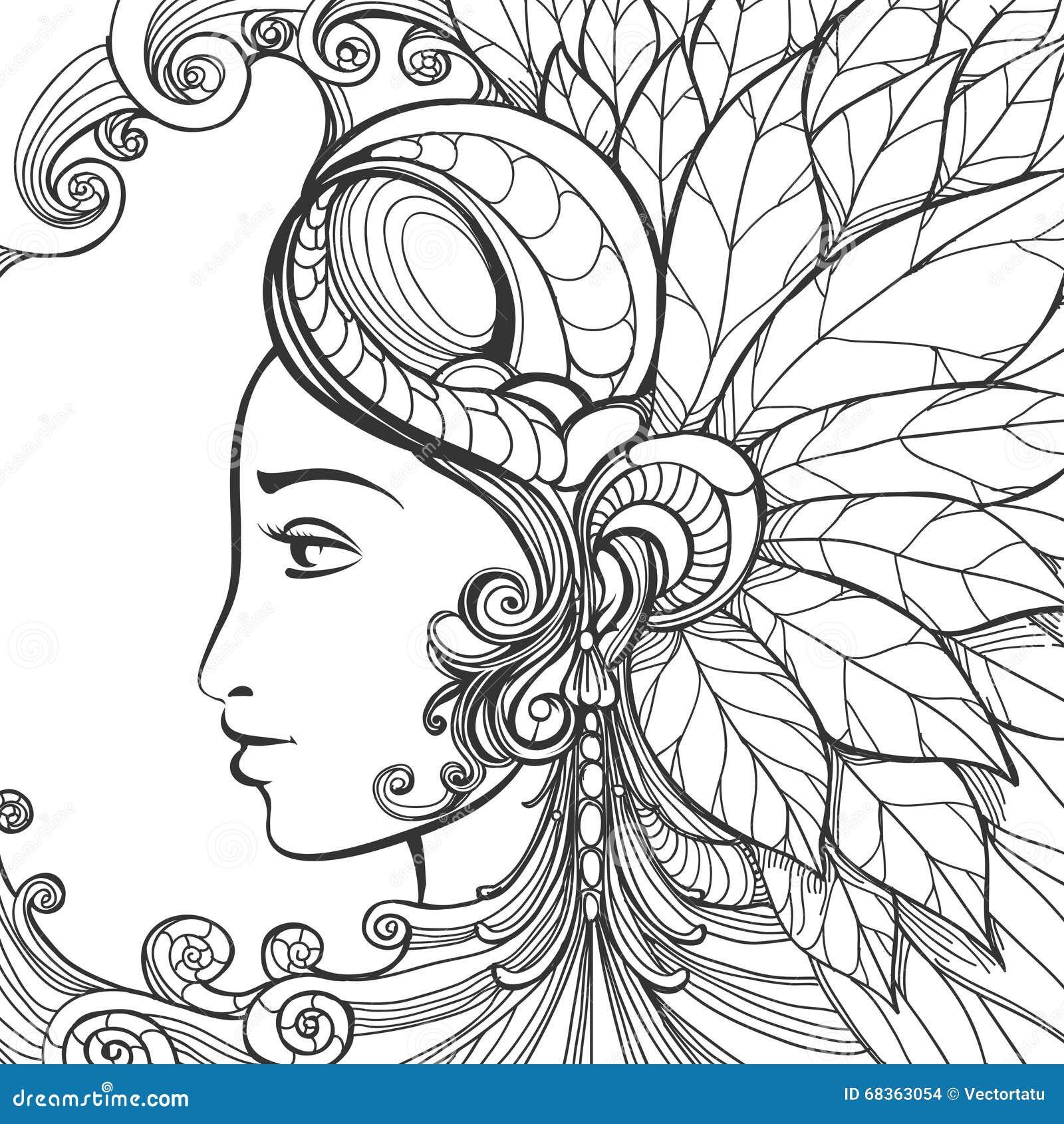 Zentangle Woman Face Stock Vector Illustration Of Beauty
