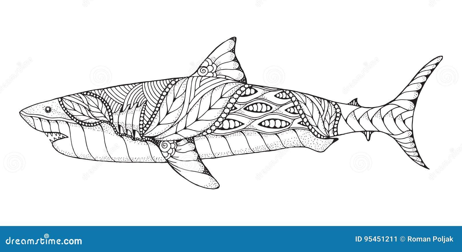 Zentangle Y Gran Tiburón Blanco Estilizado Punteado Vector