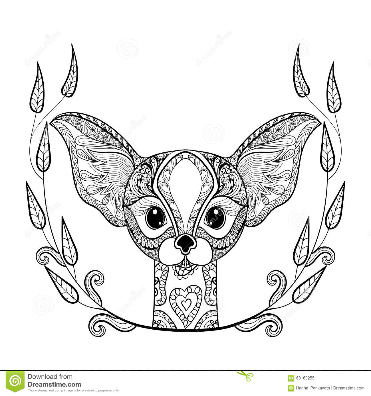Anti stress coloring therapy - Anti Stress Coloring Book Art Therapy Zentangledesert Fox Head Totem In Frame For Adult Anti