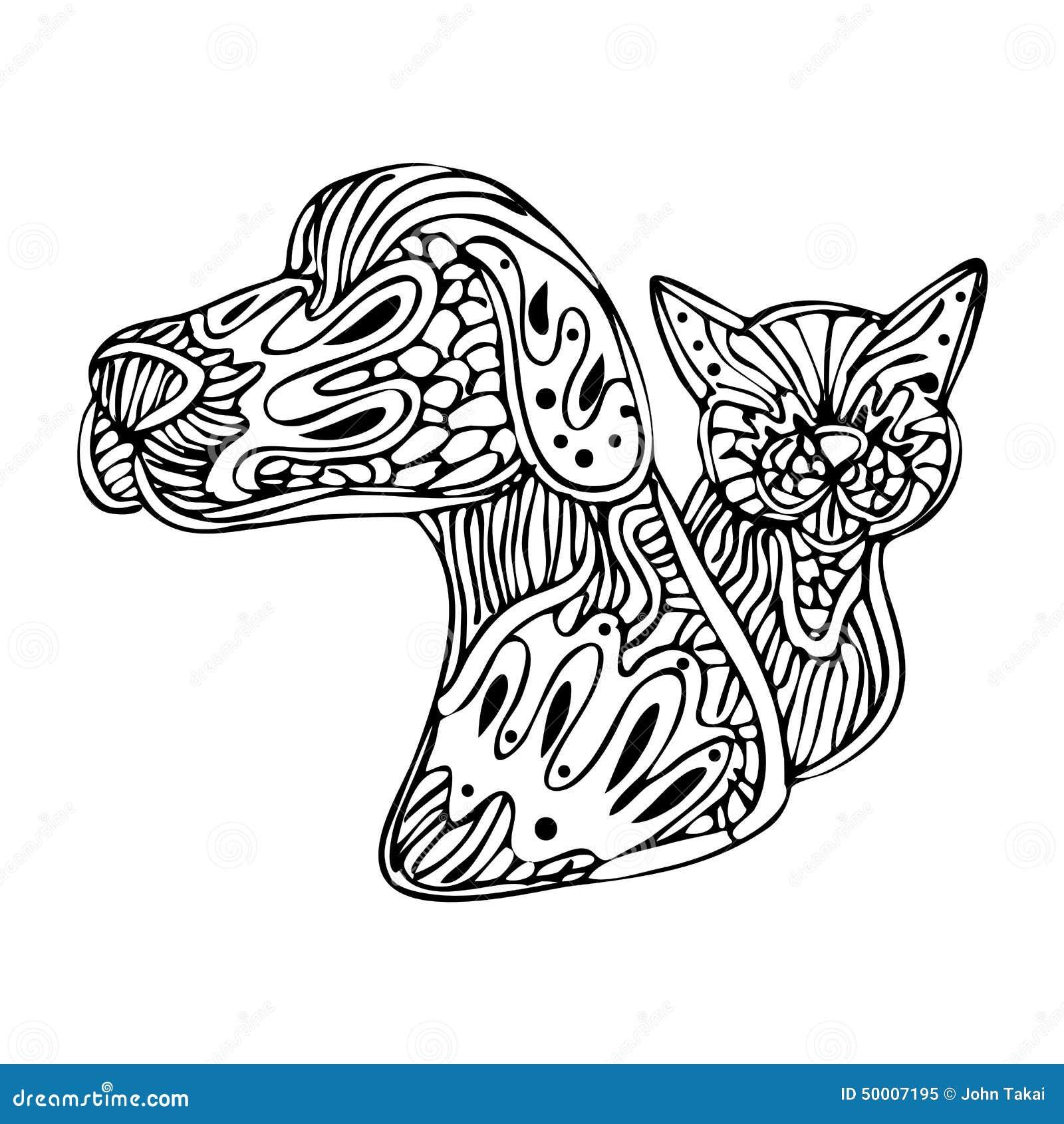 Zentanglehond En Kat Vector Illustratie Afbeelding