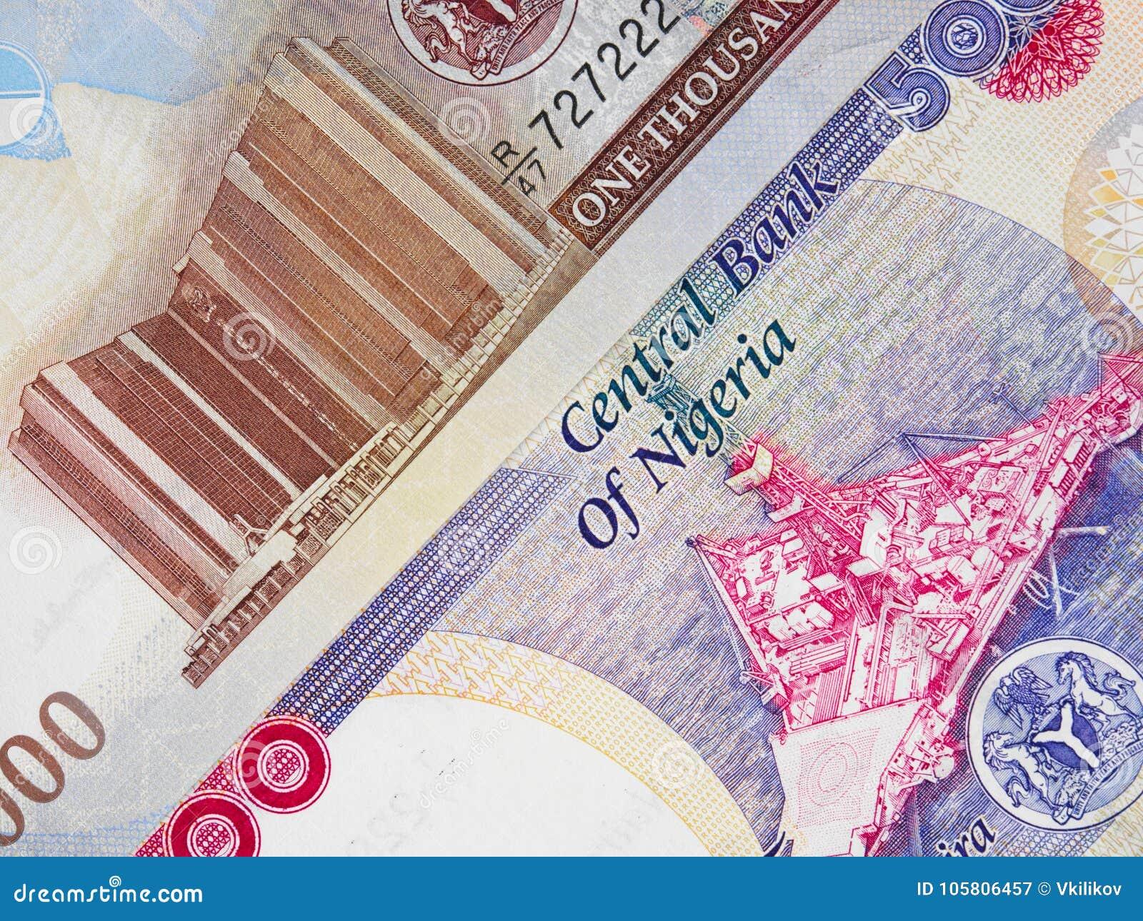 Zentrale Banknoten nigerischen Währung Naira, Nigeria-Geld