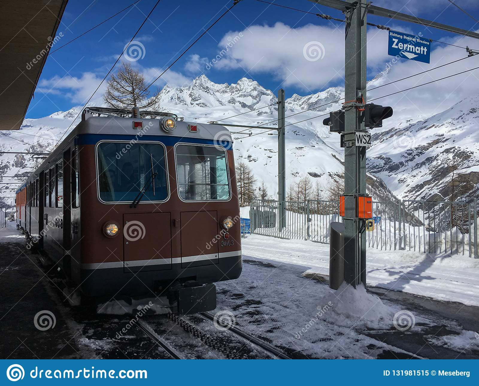 Gornergrath railway Gornergratbahn approching Riffelalp statio