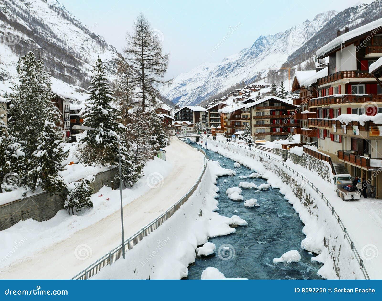Zermatt Village Winter Scene Stock Photo Image 8592250