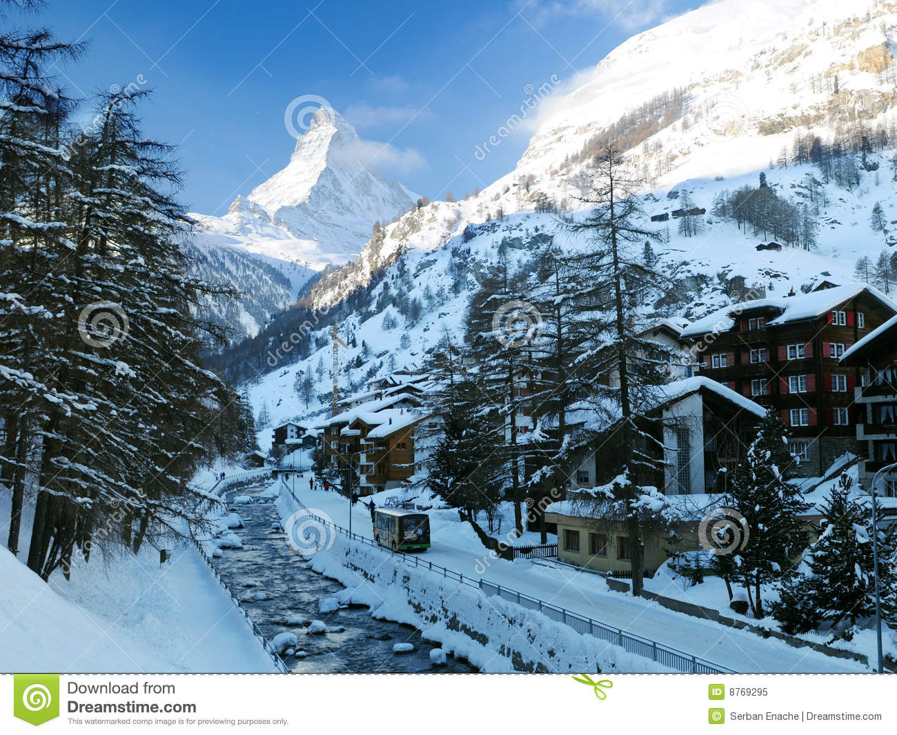 Zermatt Village Winter Scene Royalty Free Stock Photo - Image: 8769295