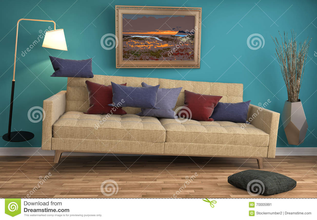 Zero Gravity Sofa Hovering In Living Room 3d Illustration Stock Illustration Image 70005991