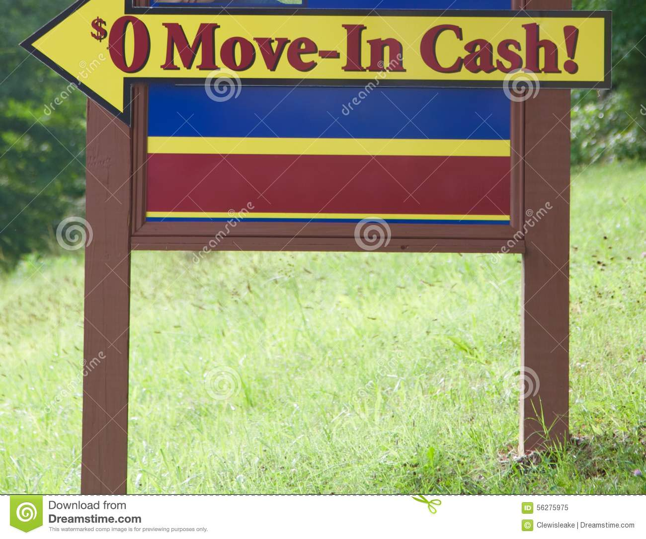Zero move in cash sign stock photo image 56275975 for 0 down homes