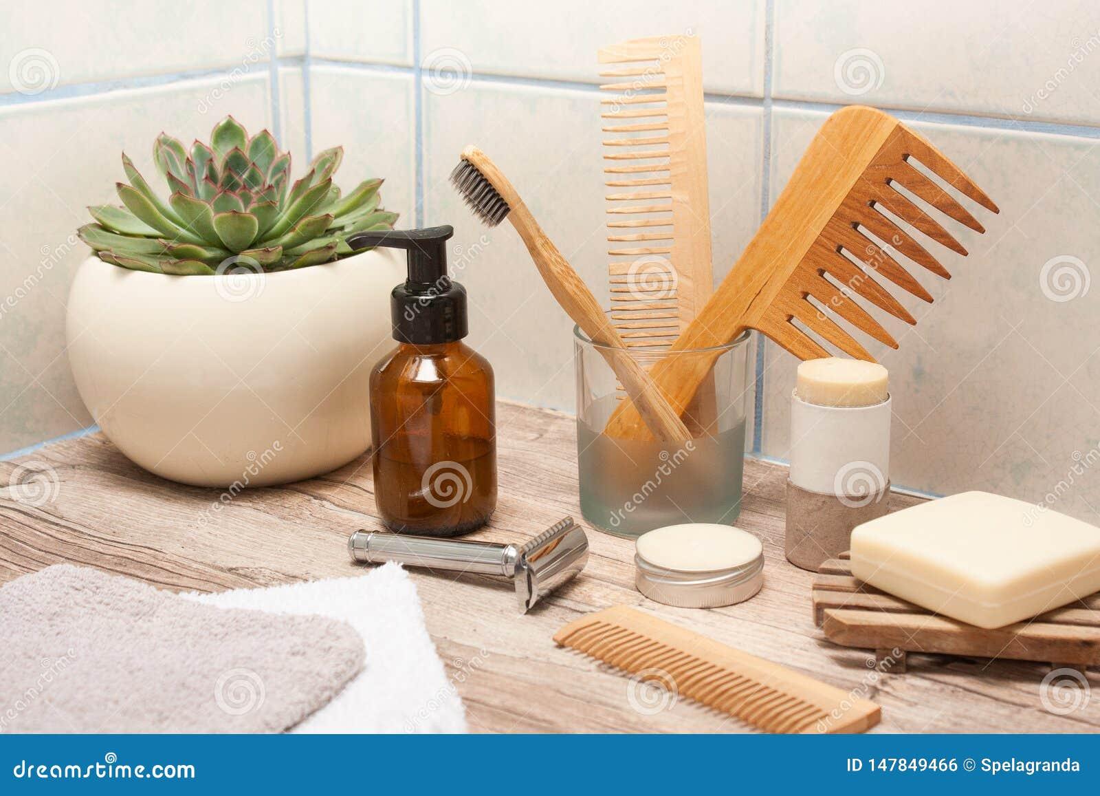 Zero Waste Ecological Bathroom Essentials Stock Photo ...