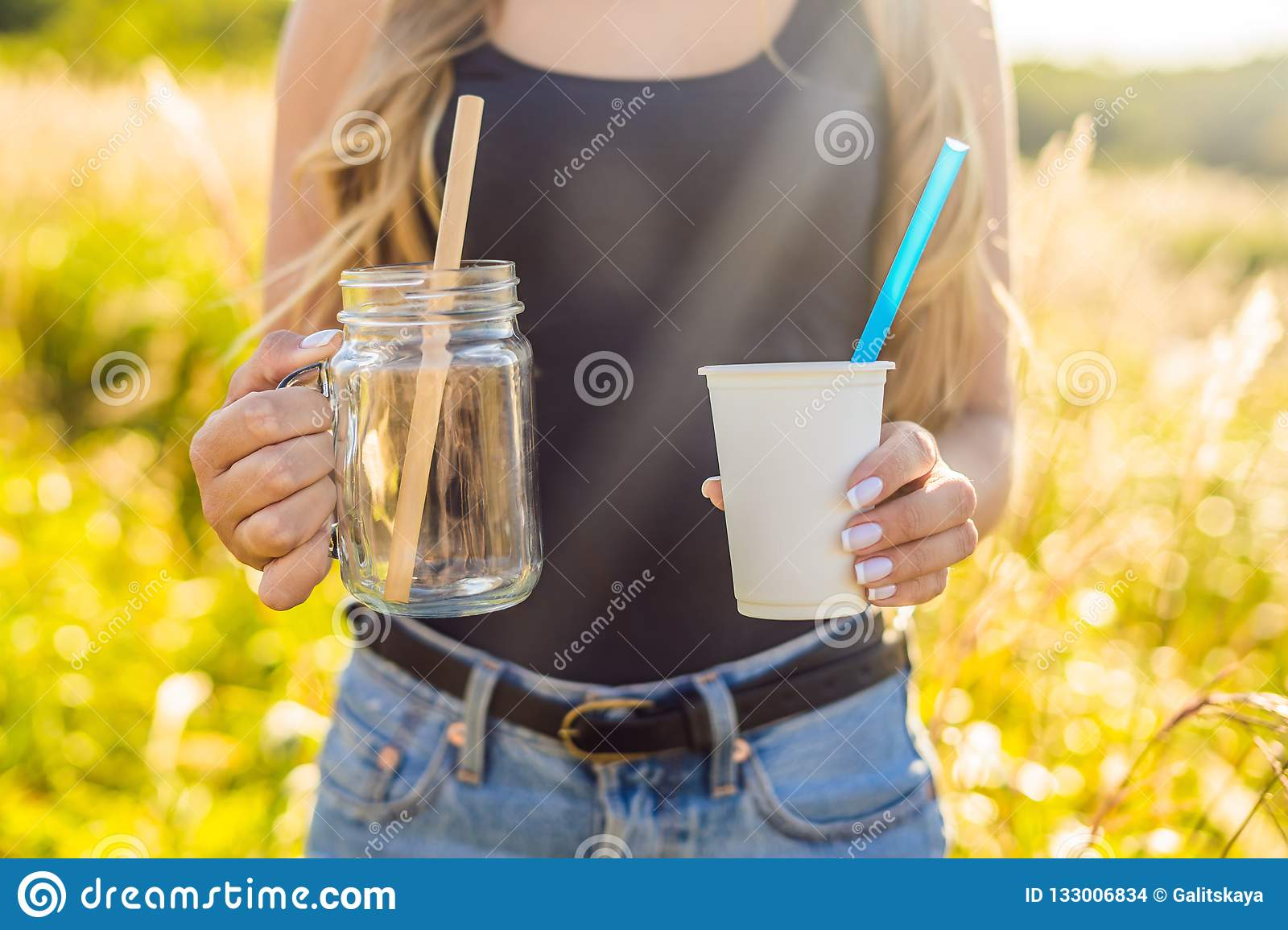 Zero Waste Concept  Use A Plastic Glass And Plastic Straw Or Mas