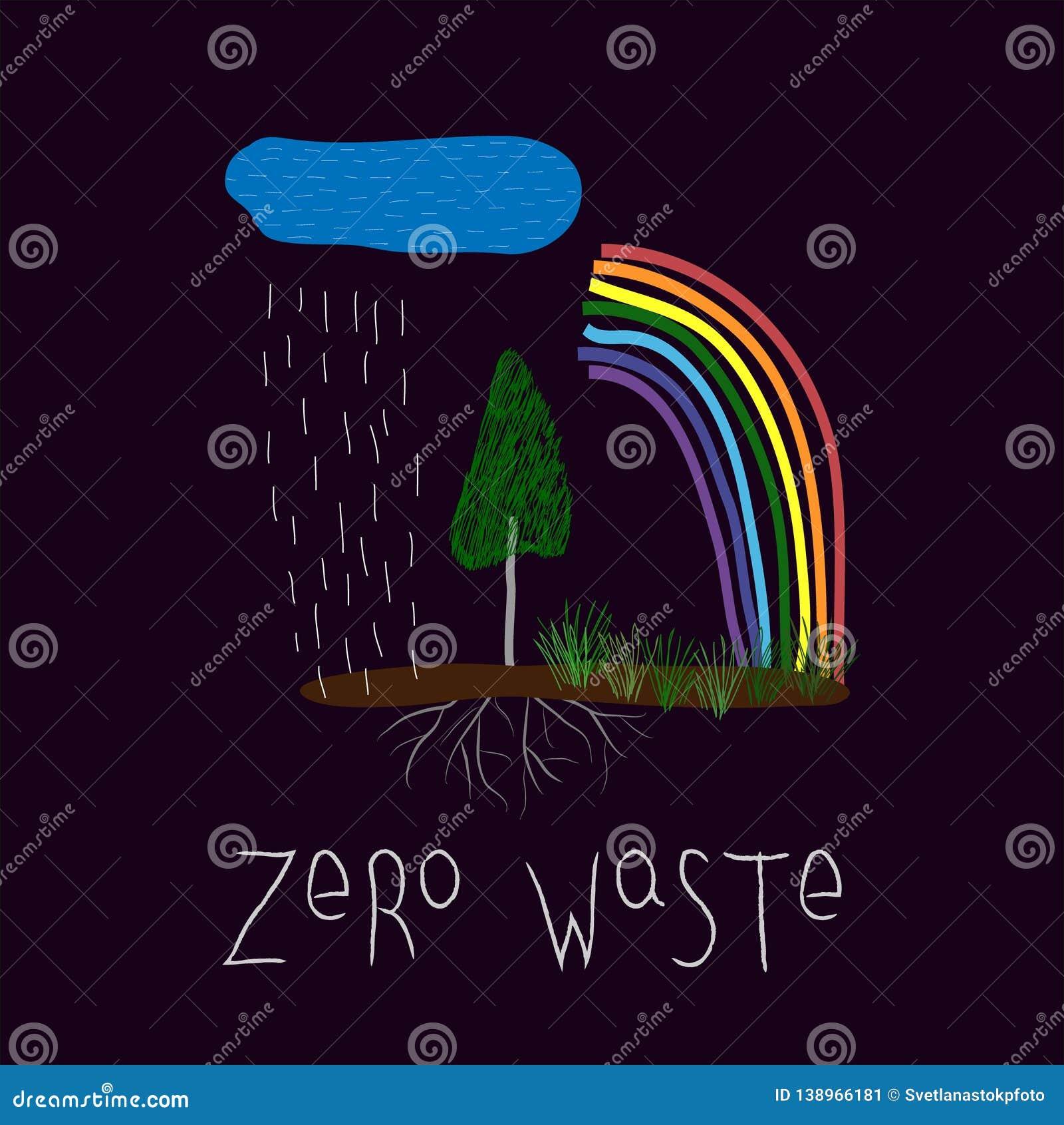 Zero waste Graphic design typography element. Hand written postcard. Cute simple vector paper cutout collage. Zero waste. Eco