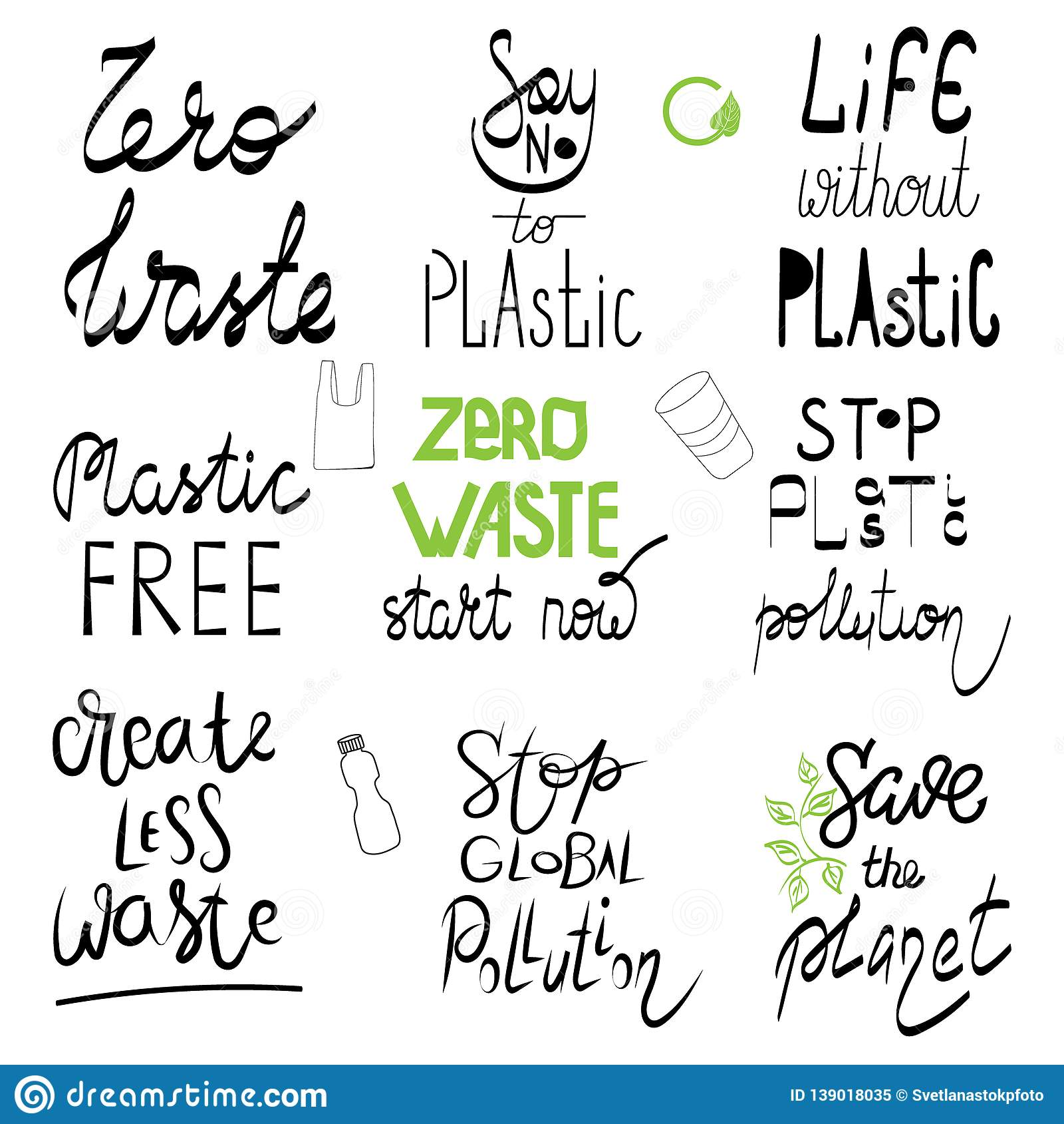 Zero Waste No Plastic Quote Lettering Set. Calligraphy ...