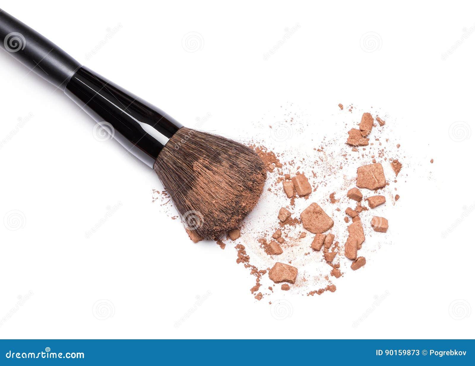 Zerquetscht, Pulver mit Make-upbürste bronzierend