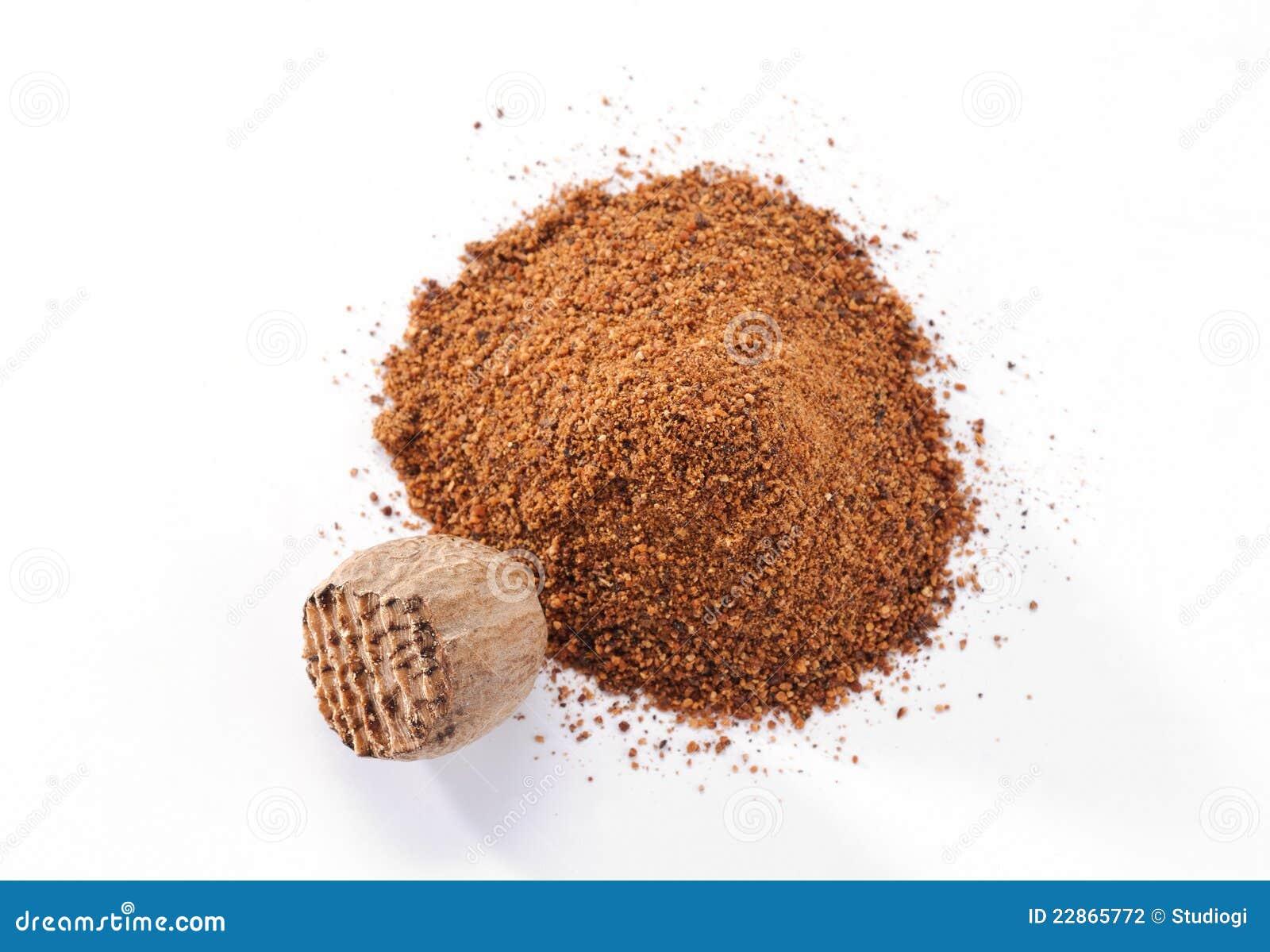 Zerriebene Muskatnuts