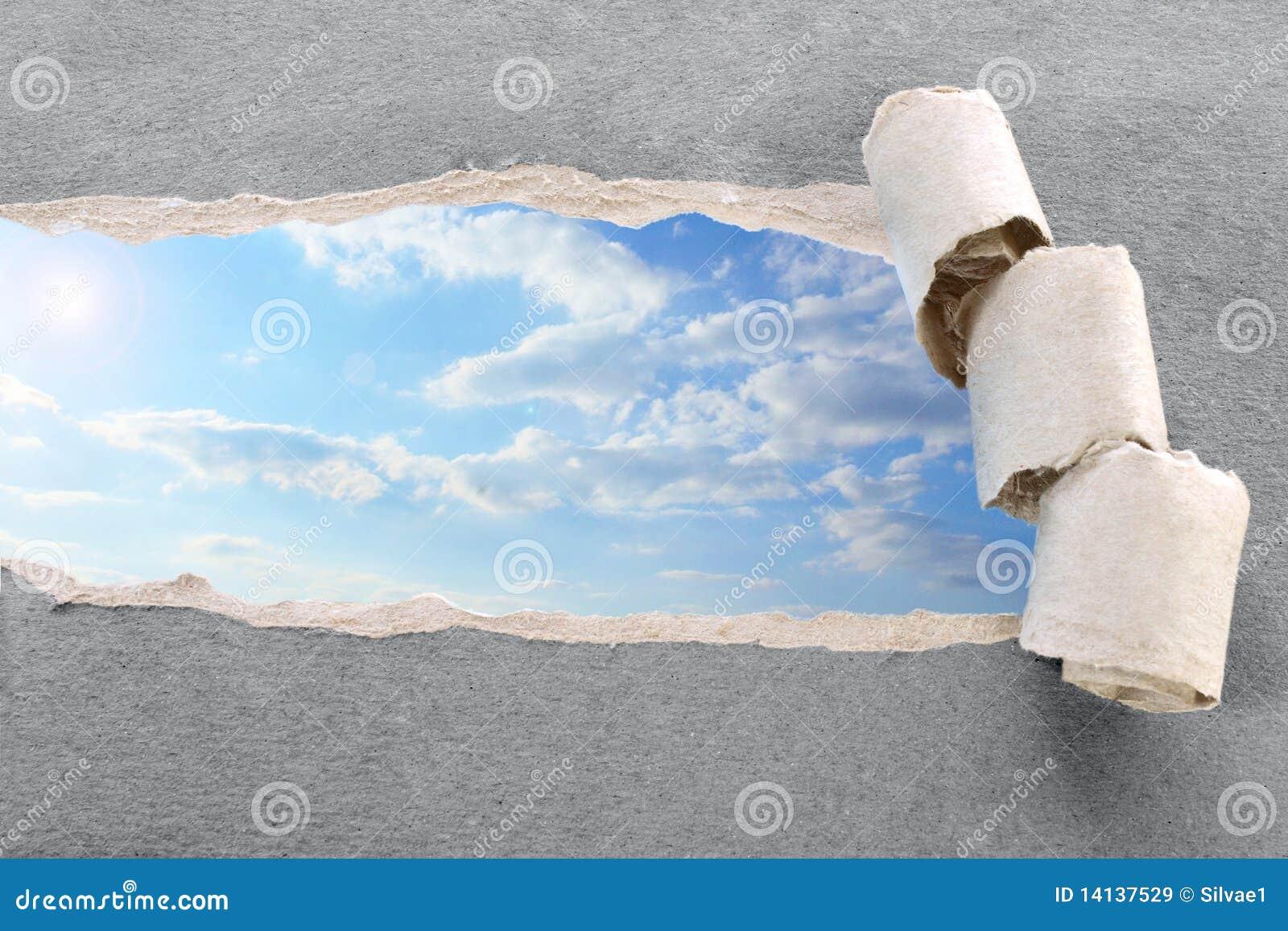 Zerrissenes Papier Und Himmel Stockbild - Bild von probe, bild: 14137529