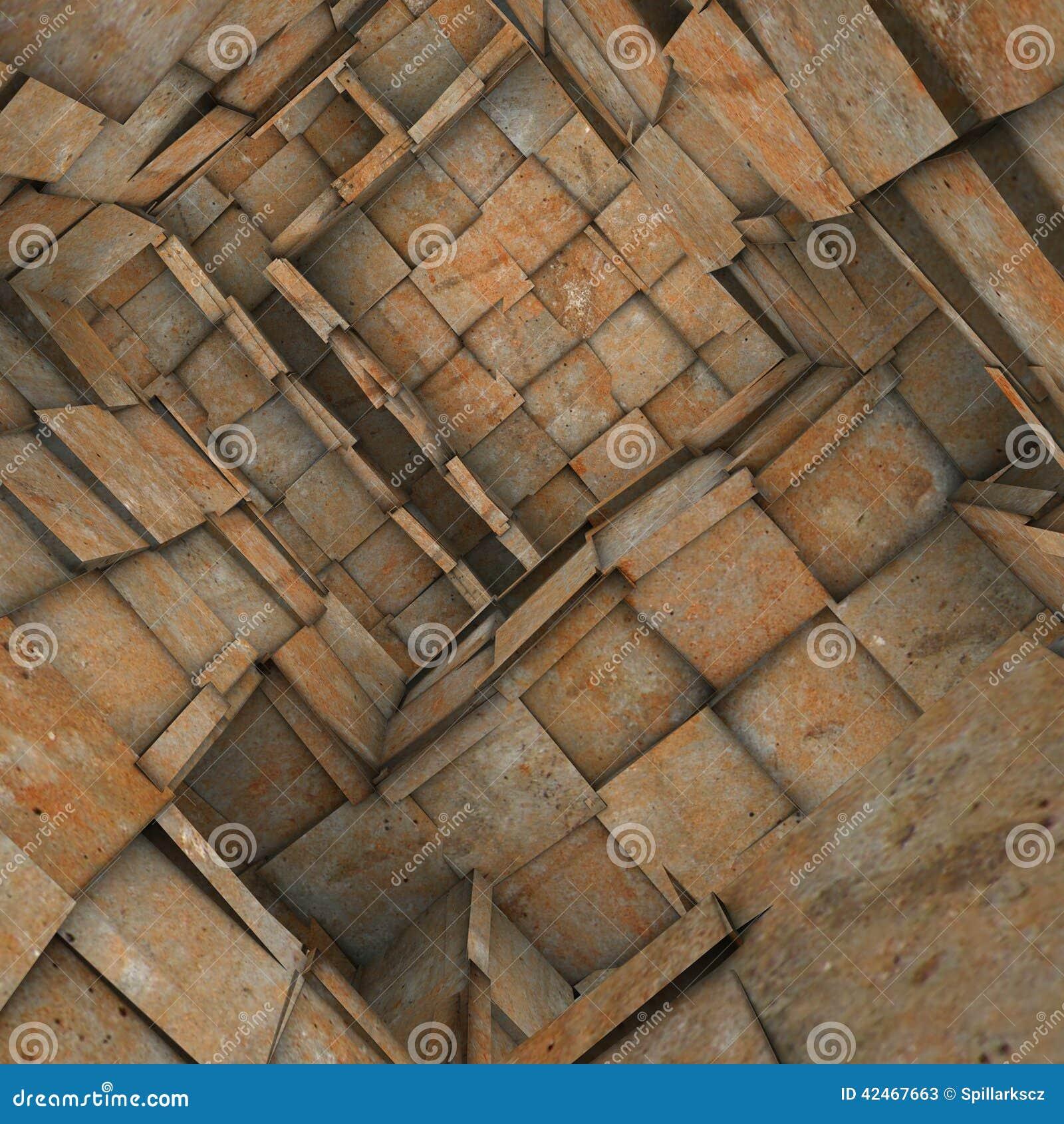 Zersplitterter mit Ziegeln gedeckter Mosaiklabyrinthinnenraum in der rostigen Orange
