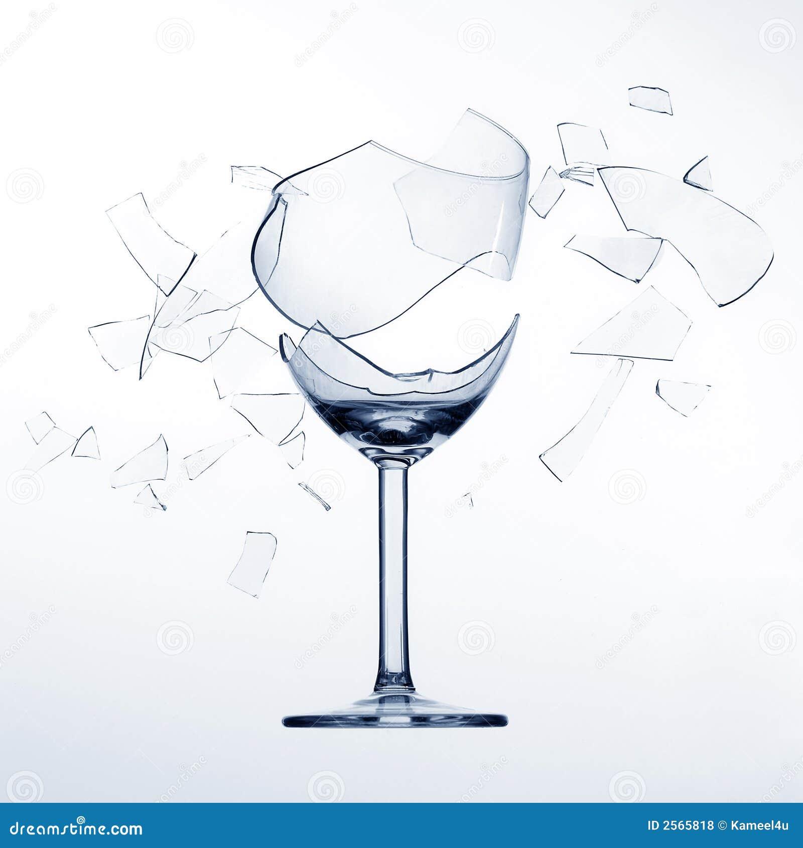 Zersplitterung des Weinglases