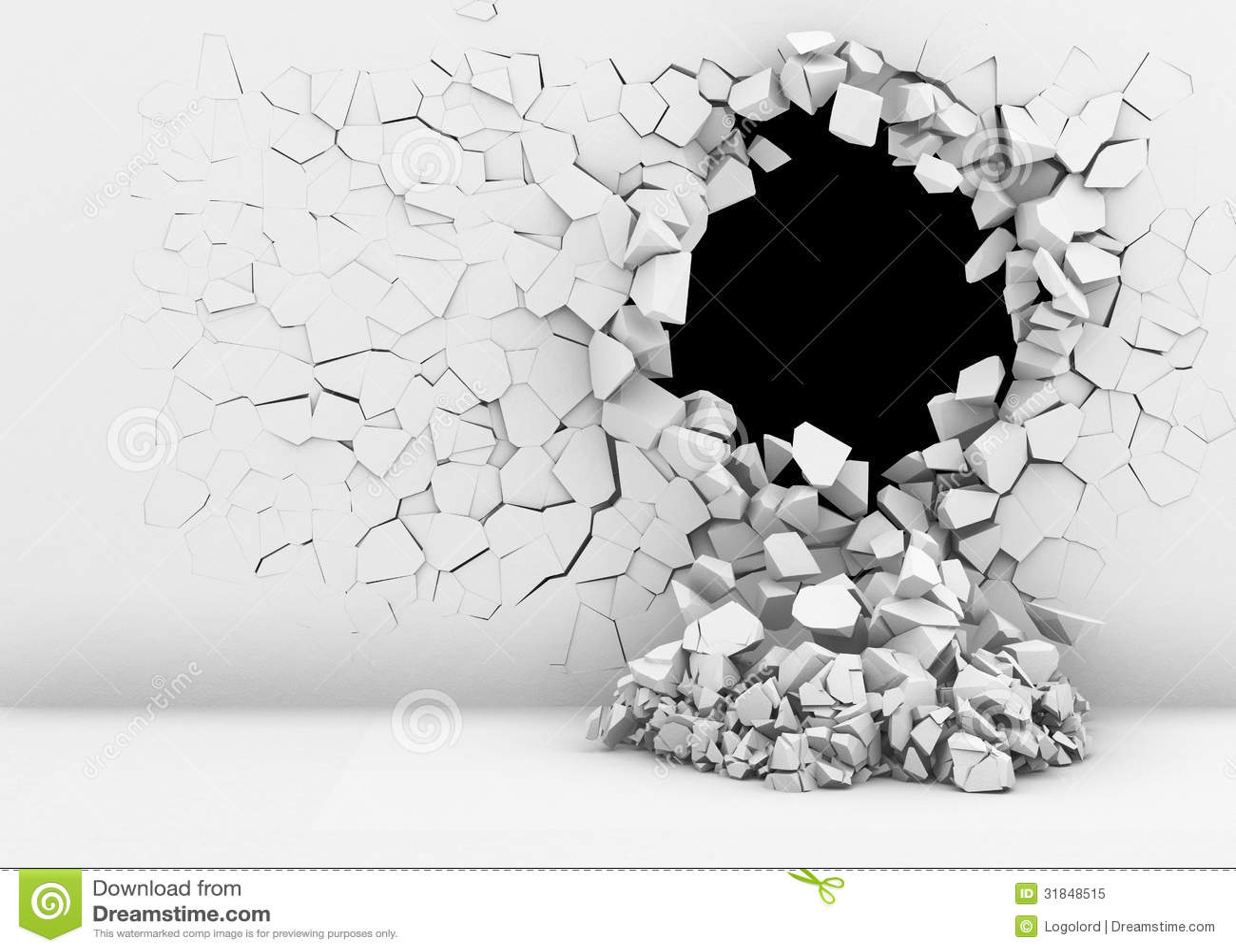 Zerstörung einer weißen Wand