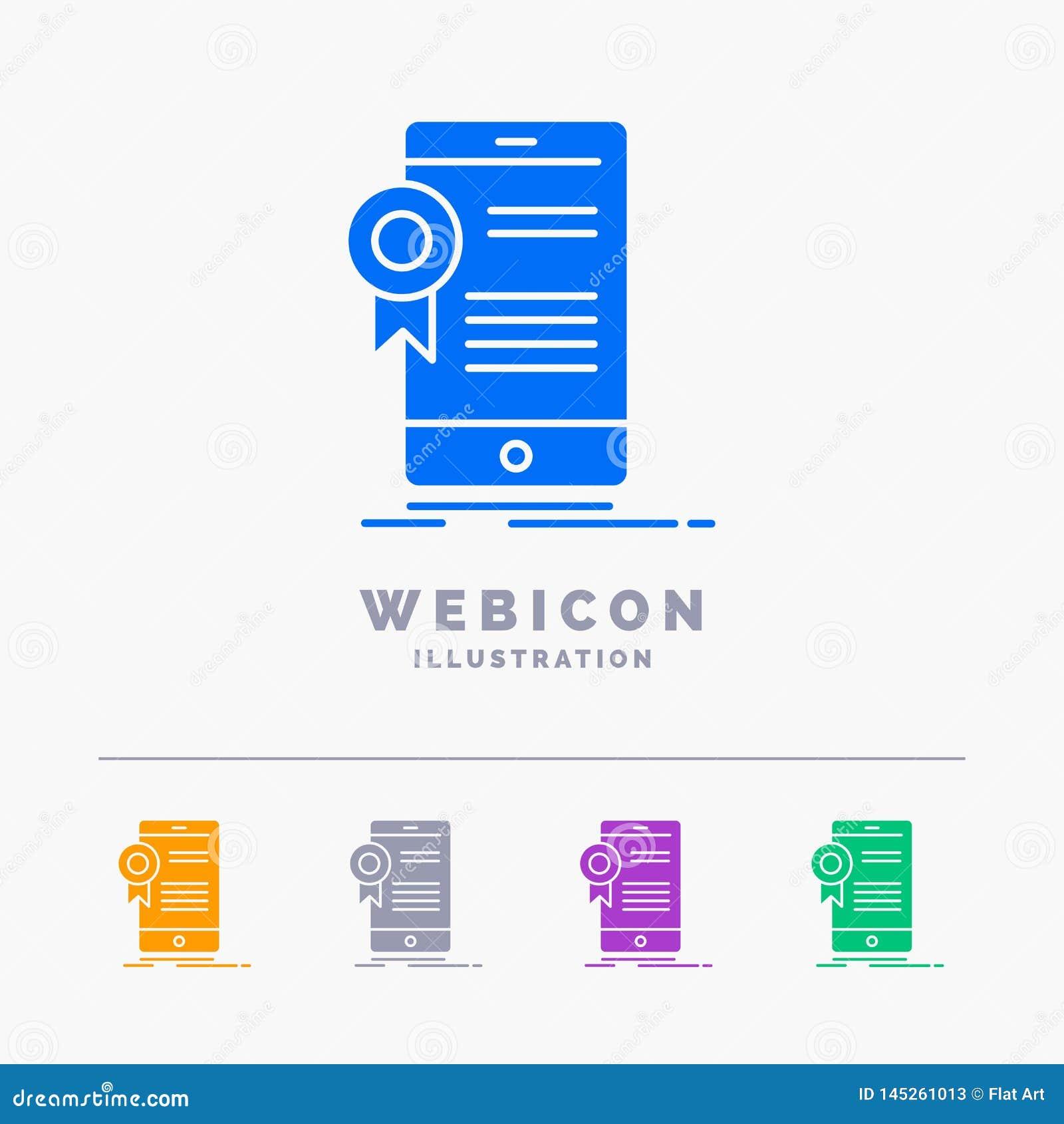 Zertifikat, Bescheinigung, App, Anwendung, Zustimmung 5 Farbeglyph-Netz-Ikonen-Schablone lokalisiert auf Weiß Auch im corel abgeh