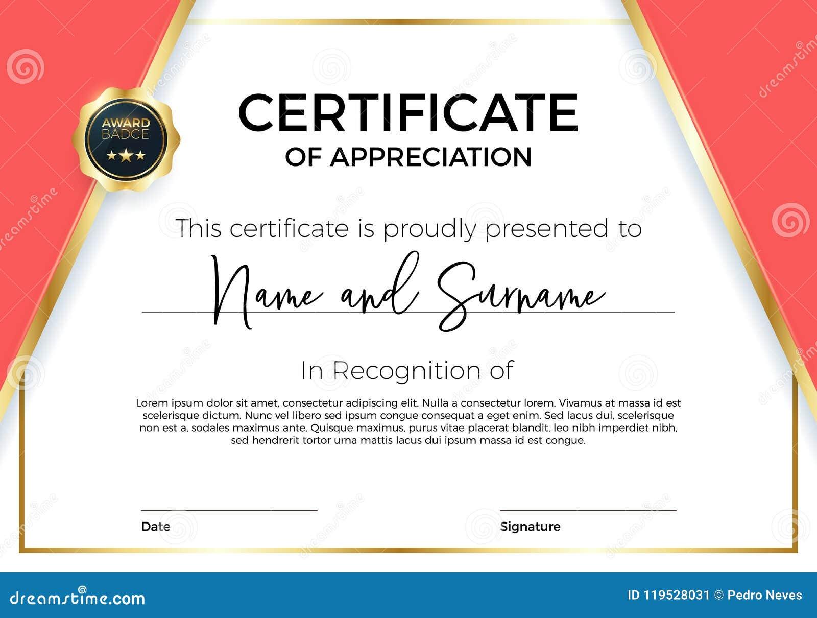 Zertifikat der Anerkennung oder der Leistung mit Preisausweis Erstklassige Vektorschablone für Preise und Diplome