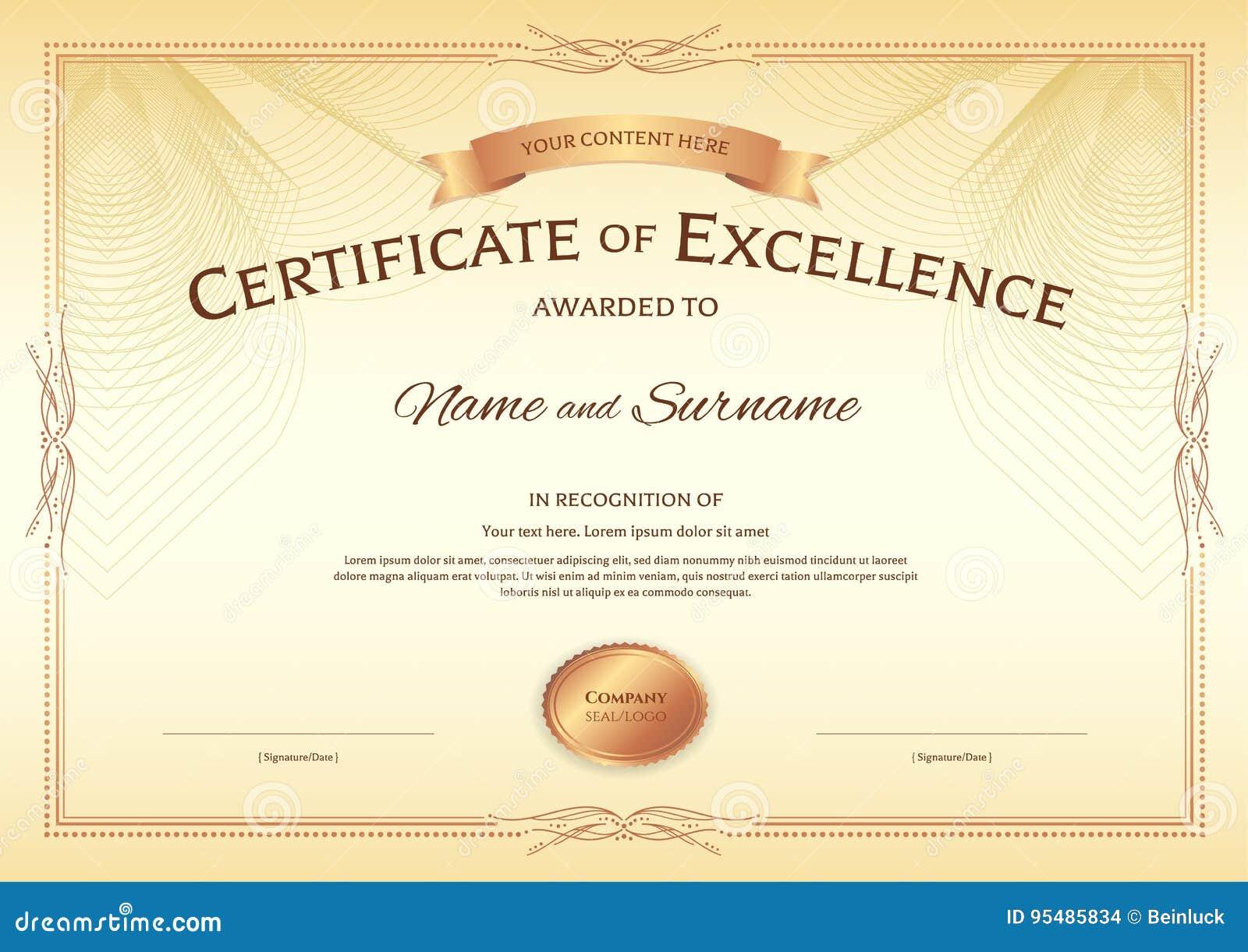 Zertifikat Der Schablone Der Hervorragenden Leistung Mit Preisband ...