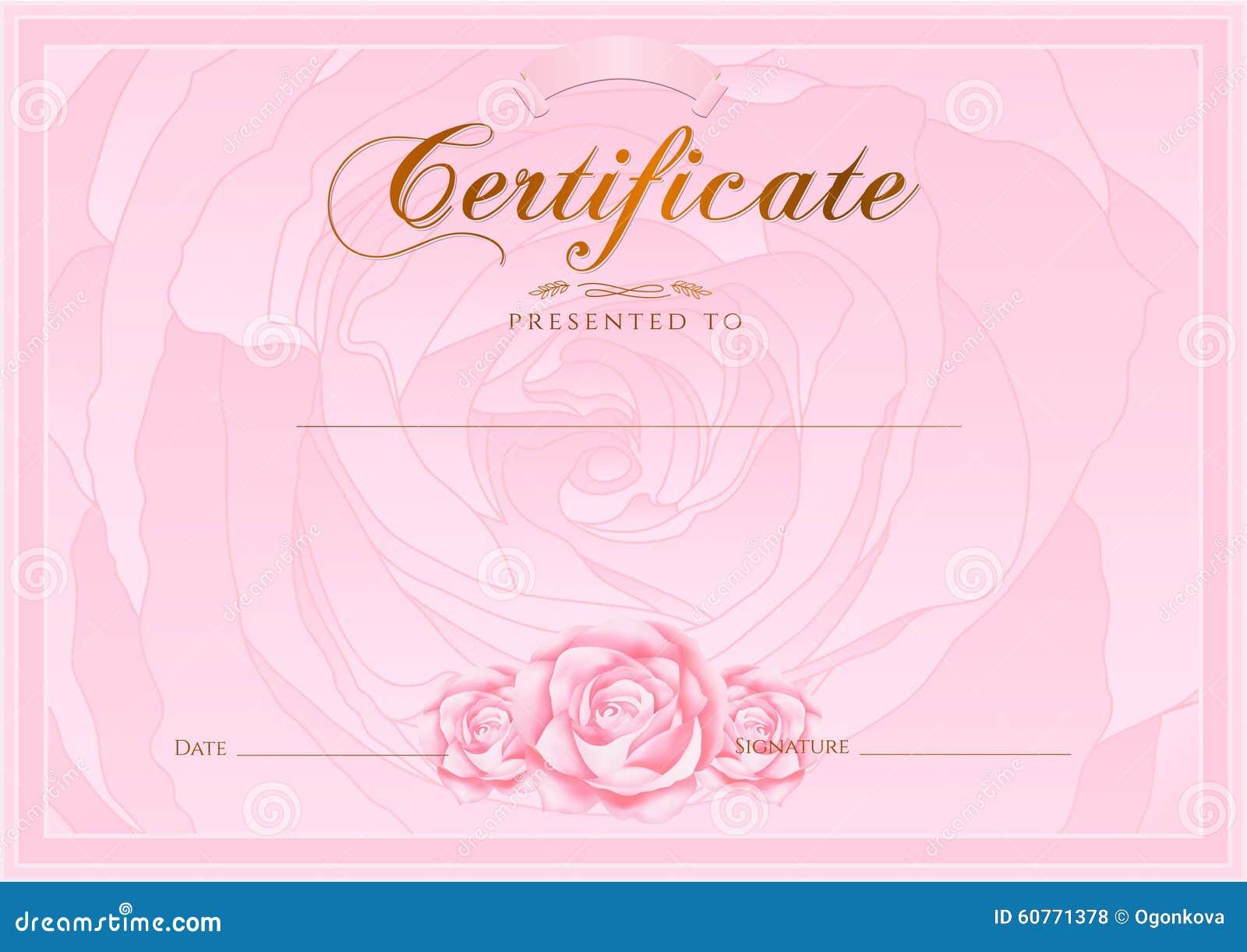 Zertifikat, Diplom Der Fertigstellung (Rosen-Designschablone ...